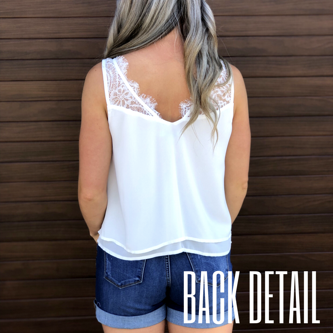 Lace Cami Tank - White