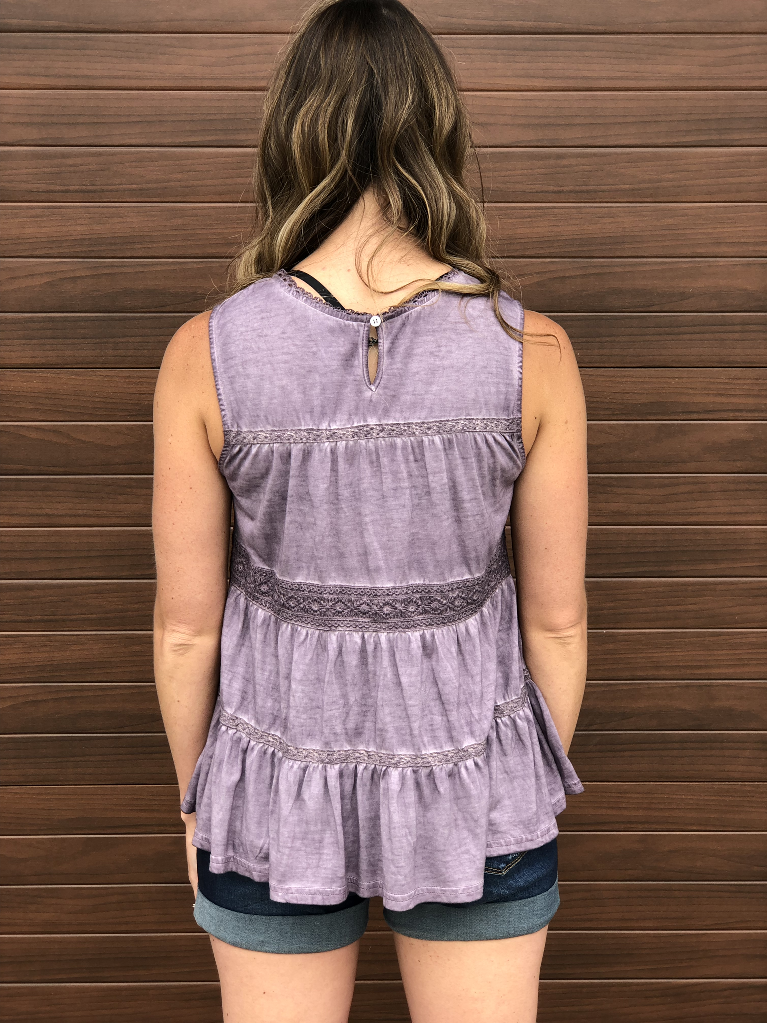 Purple Layer Ruffle Tank