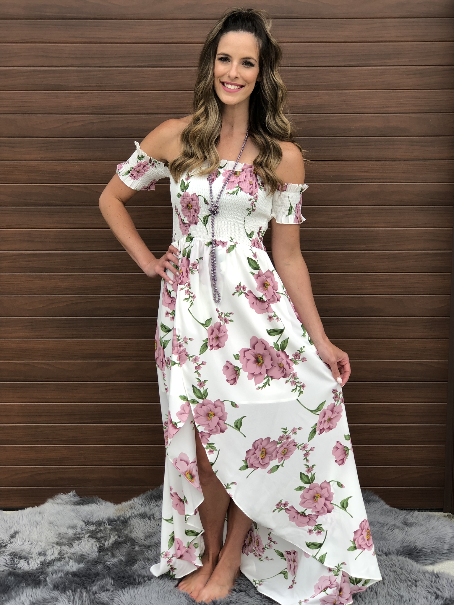 White Floral High Low Dress 83056
