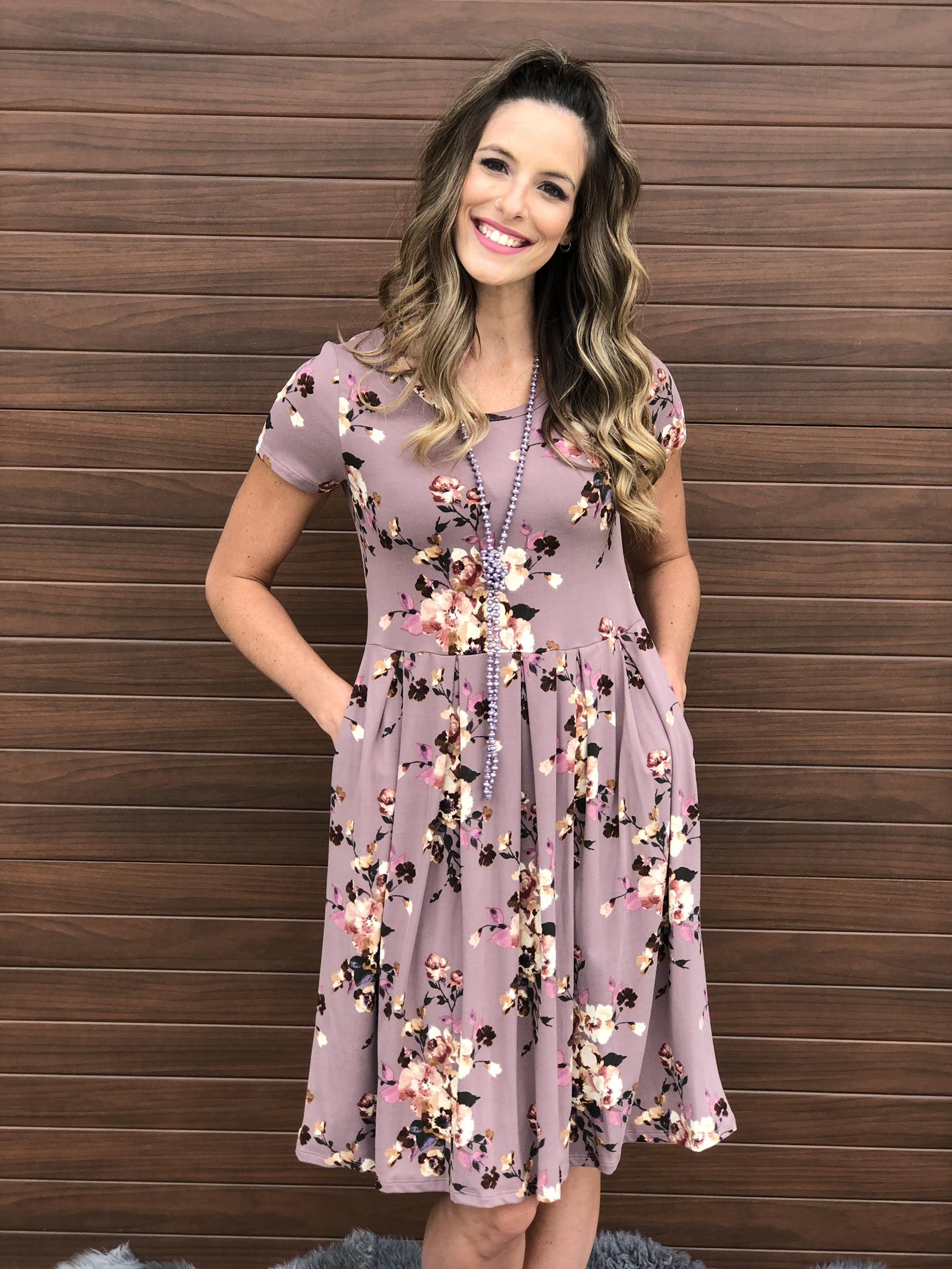 Mauve Floral Dress 3043
