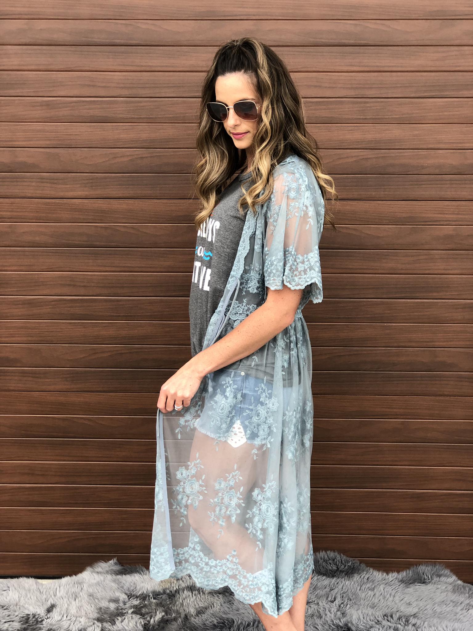 Green Lace Kimono
