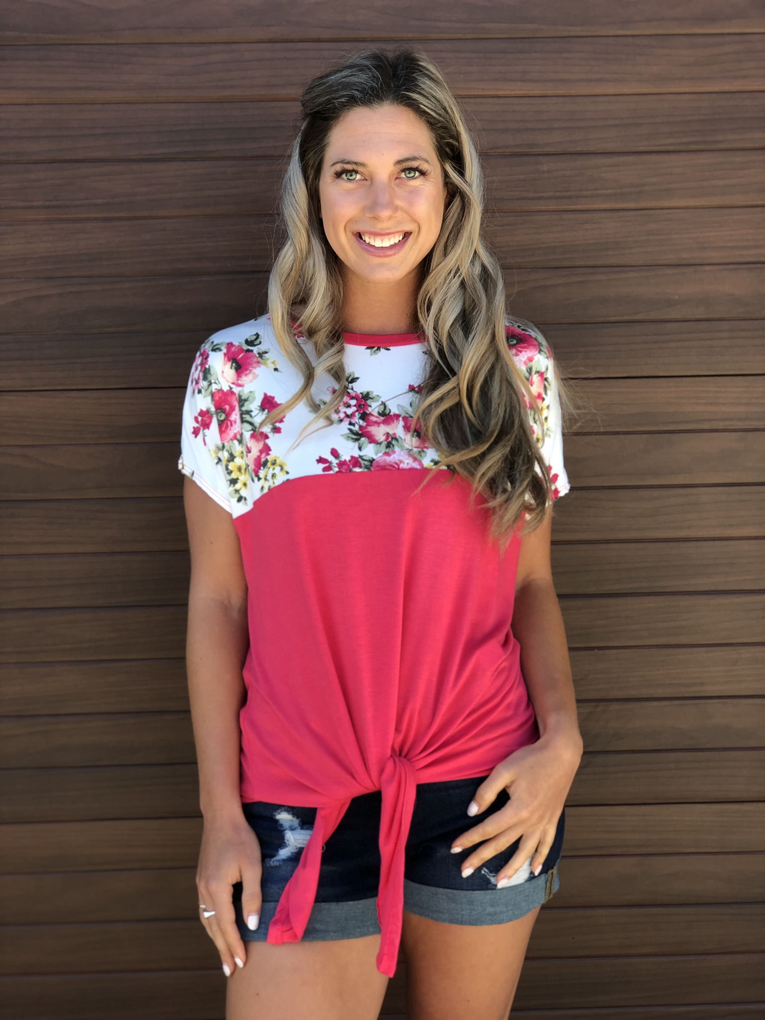 Coral Floral Panel Top 83189