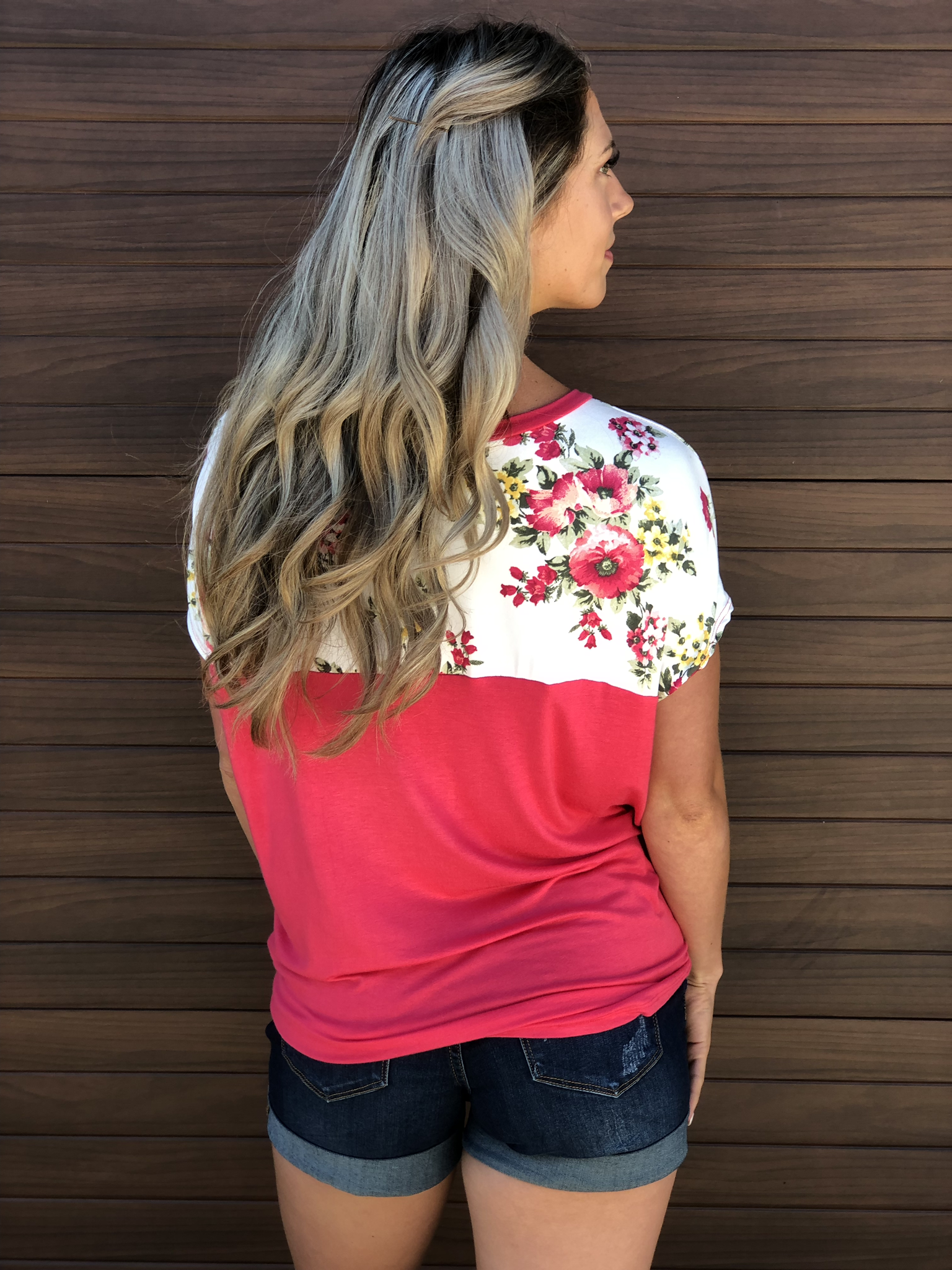 Coral Floral Panel Top