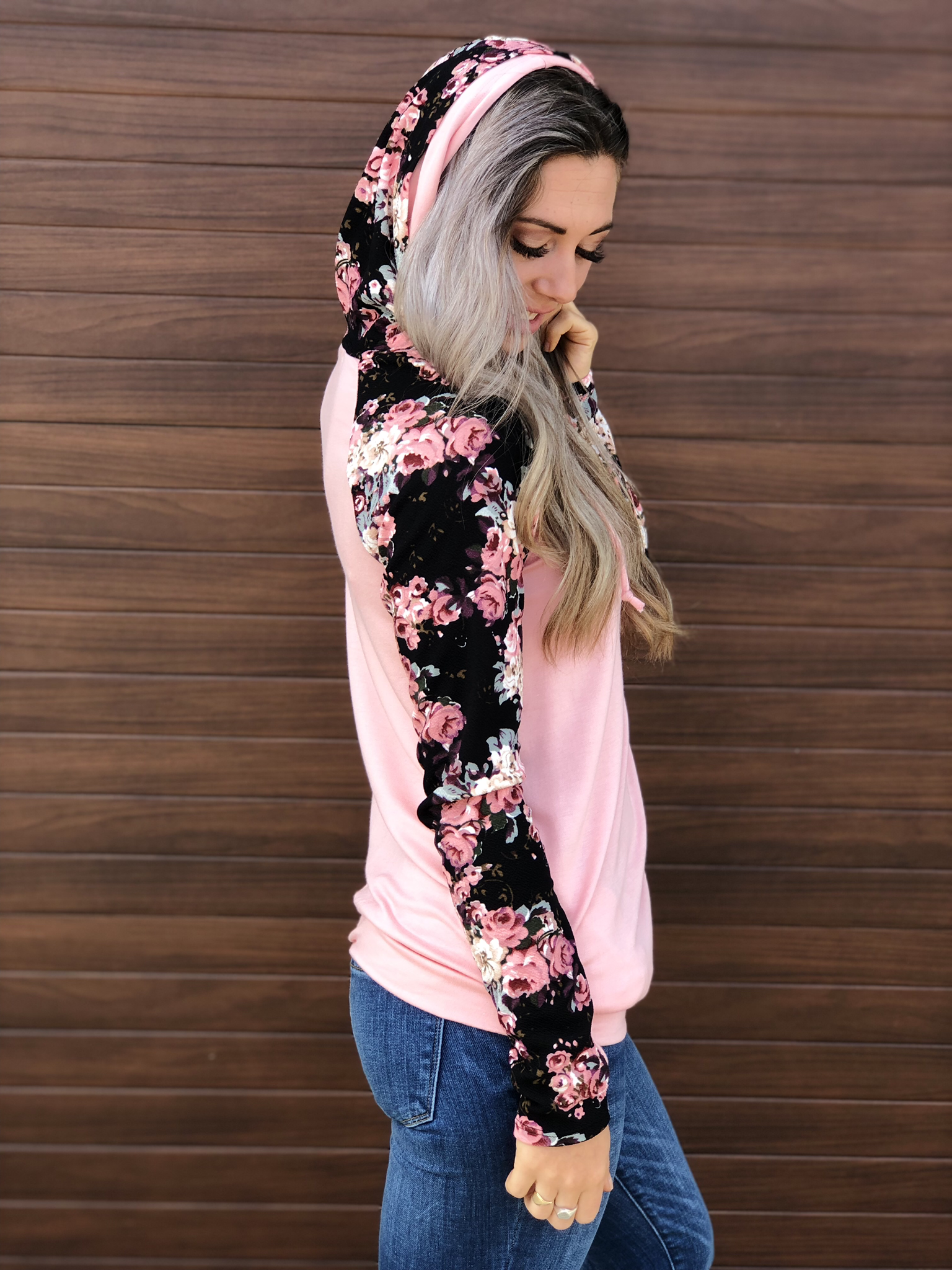 Floral Blush Double Hoodie