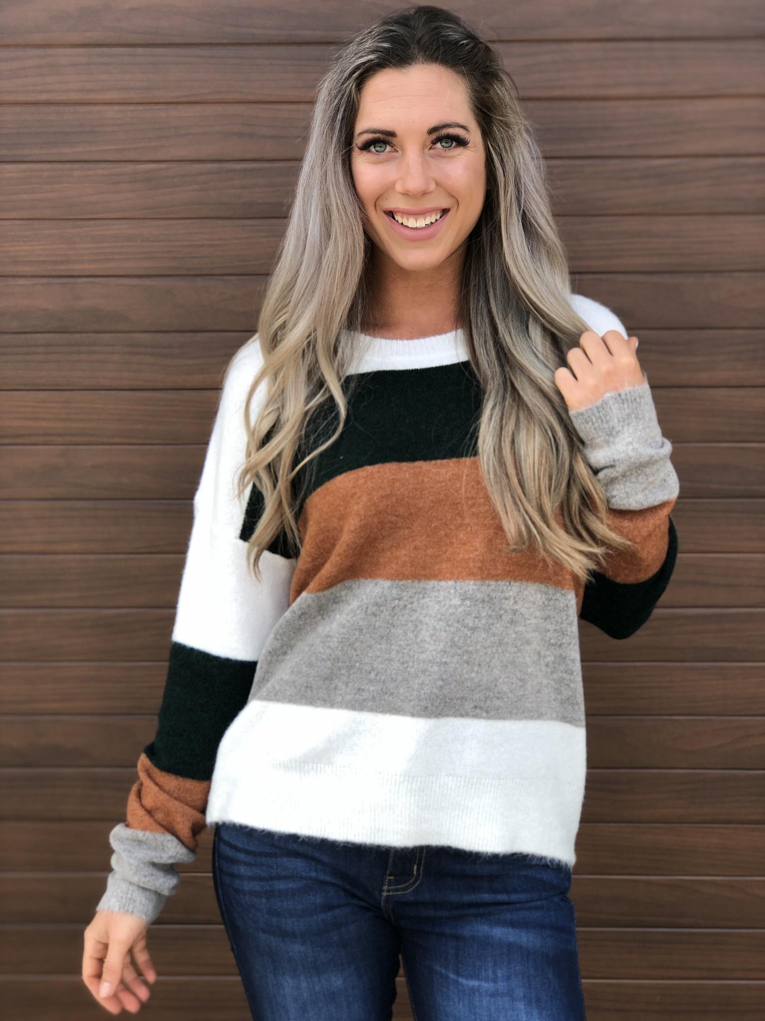 Fall Air Striped Sweater -Earth Tones 83384