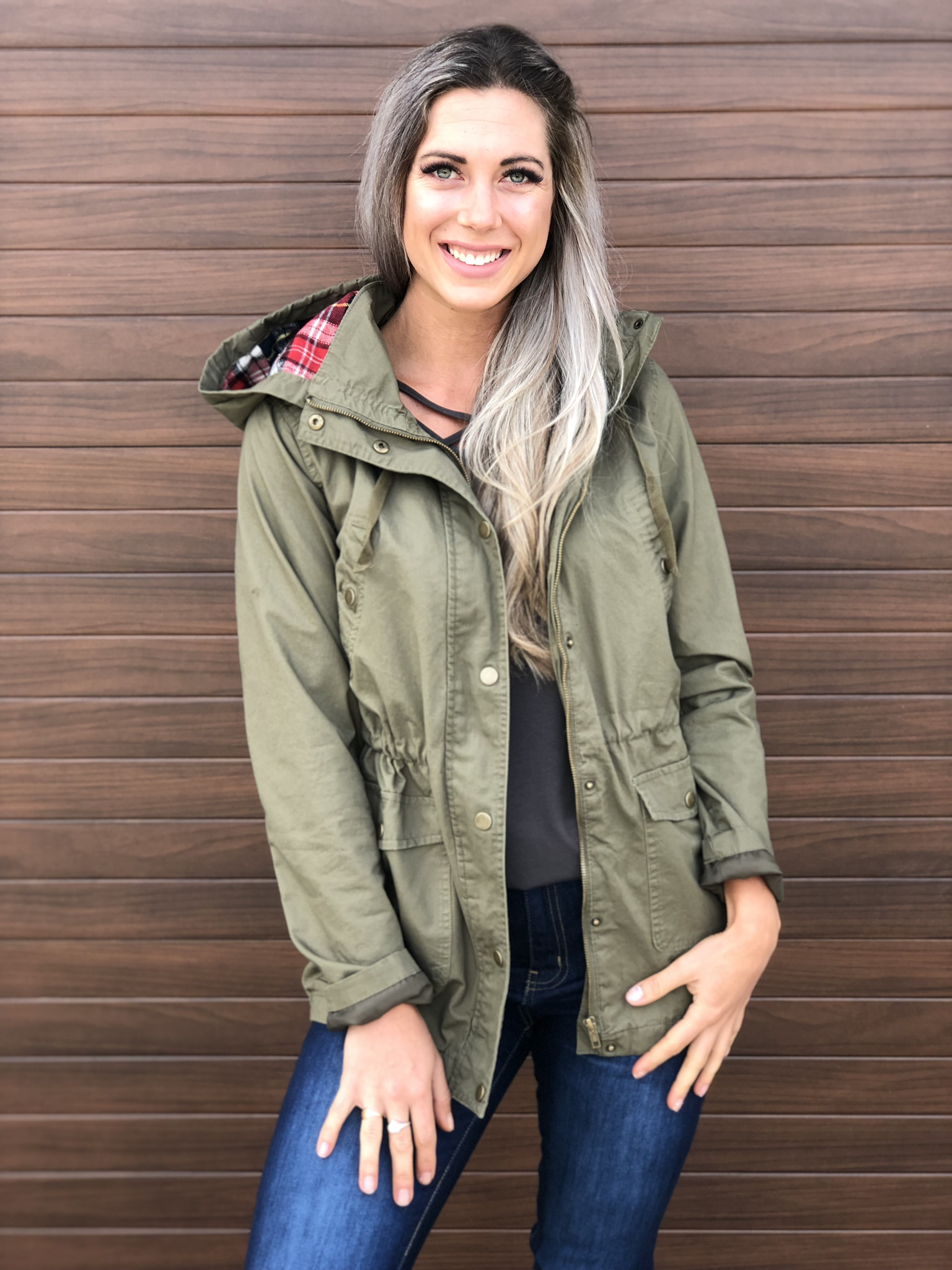 Cargo jacket with plaid accent 83380