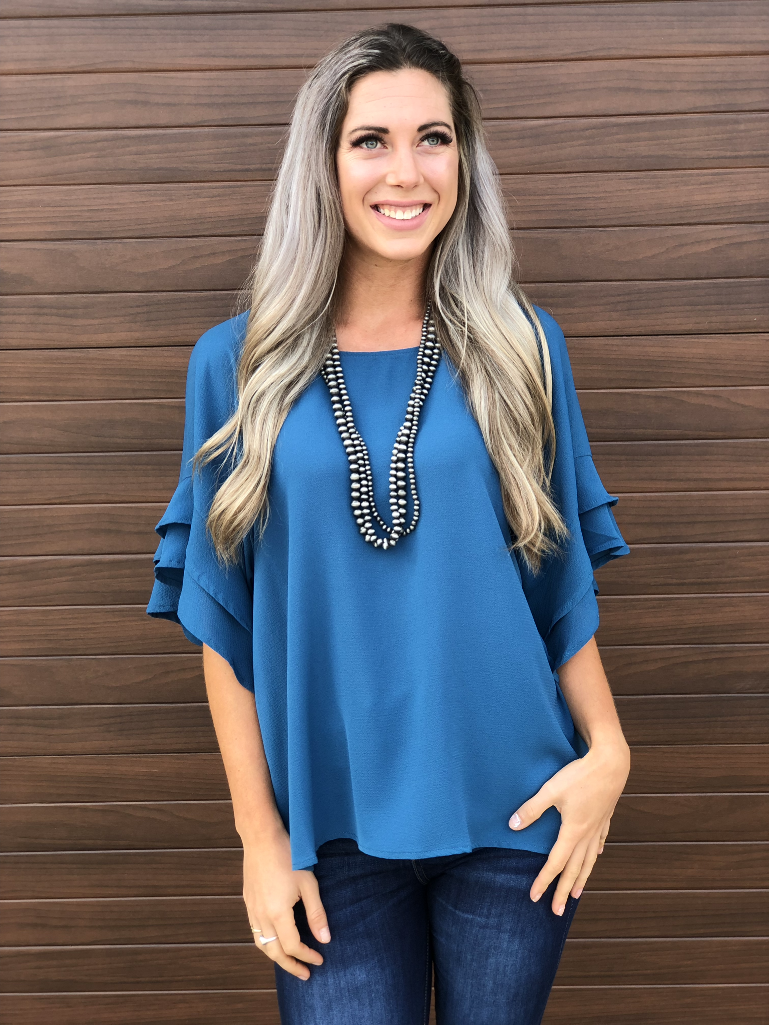 The Kelowna Shift Ruffle Top - Teal 83336