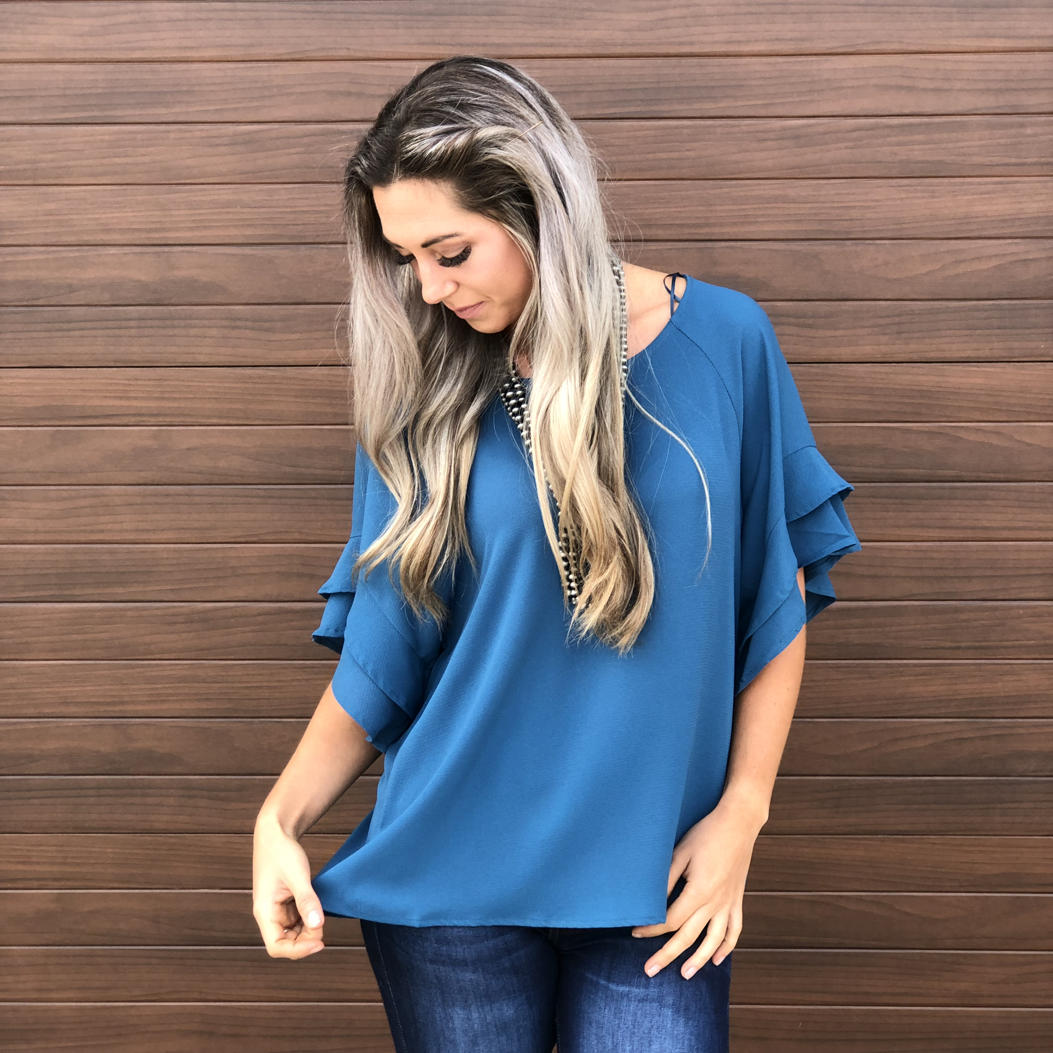 The Kelowna Shift Ruffle Top - Teal
