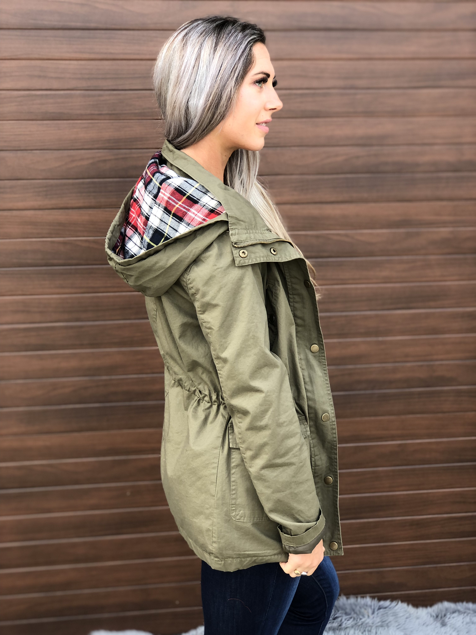 Cargo jacket with plaid accent