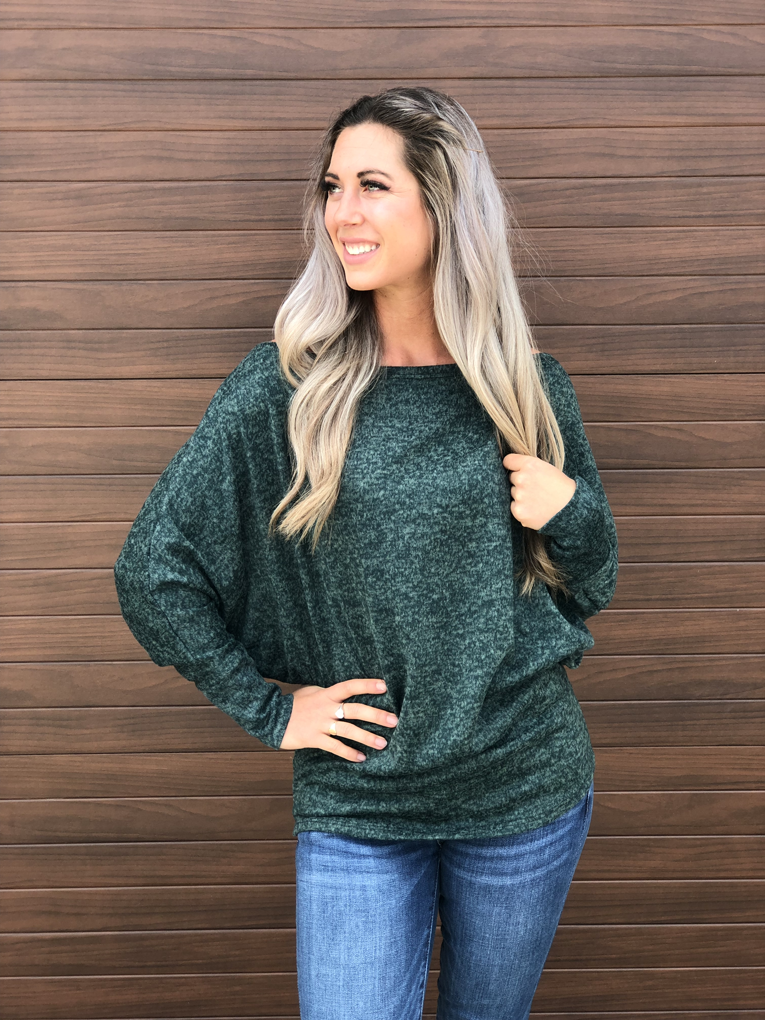 Dolman Style Evergreen Sweater 83471