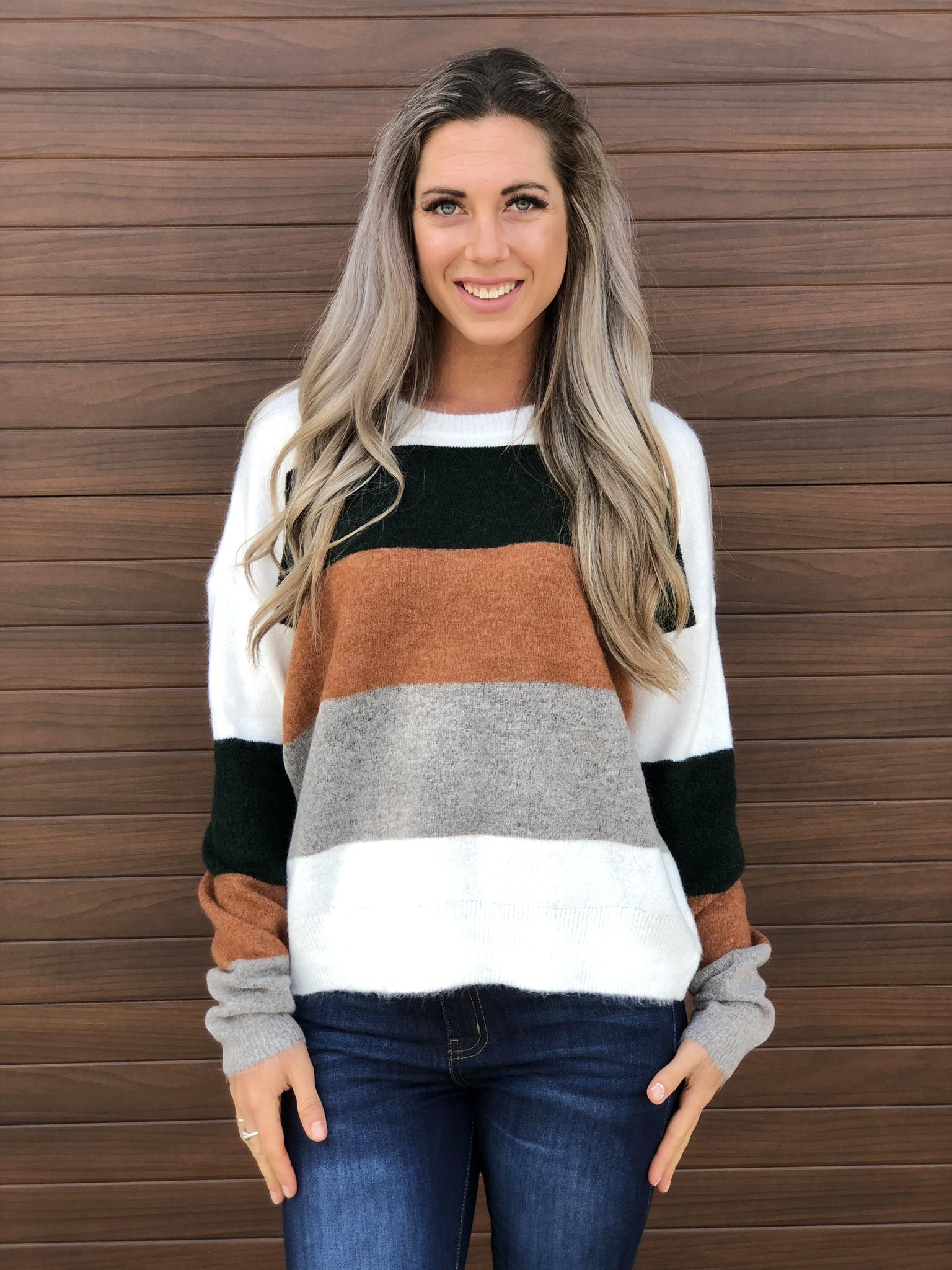 Fall Air Striped Sweater -Earth Tones