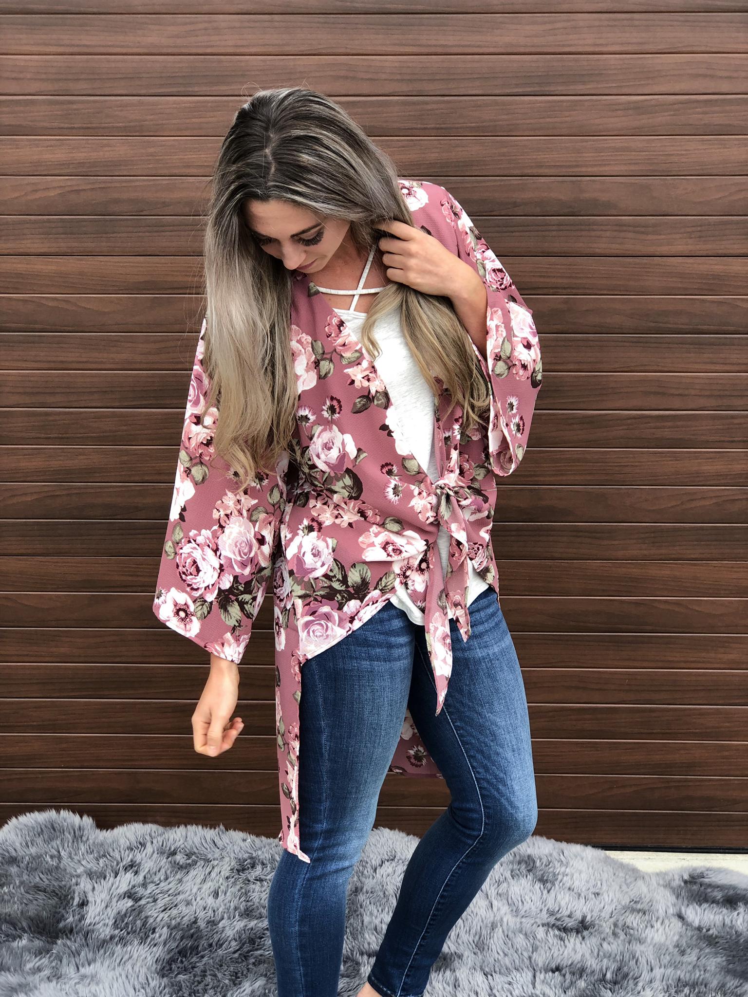 Mauve Floral Kimono