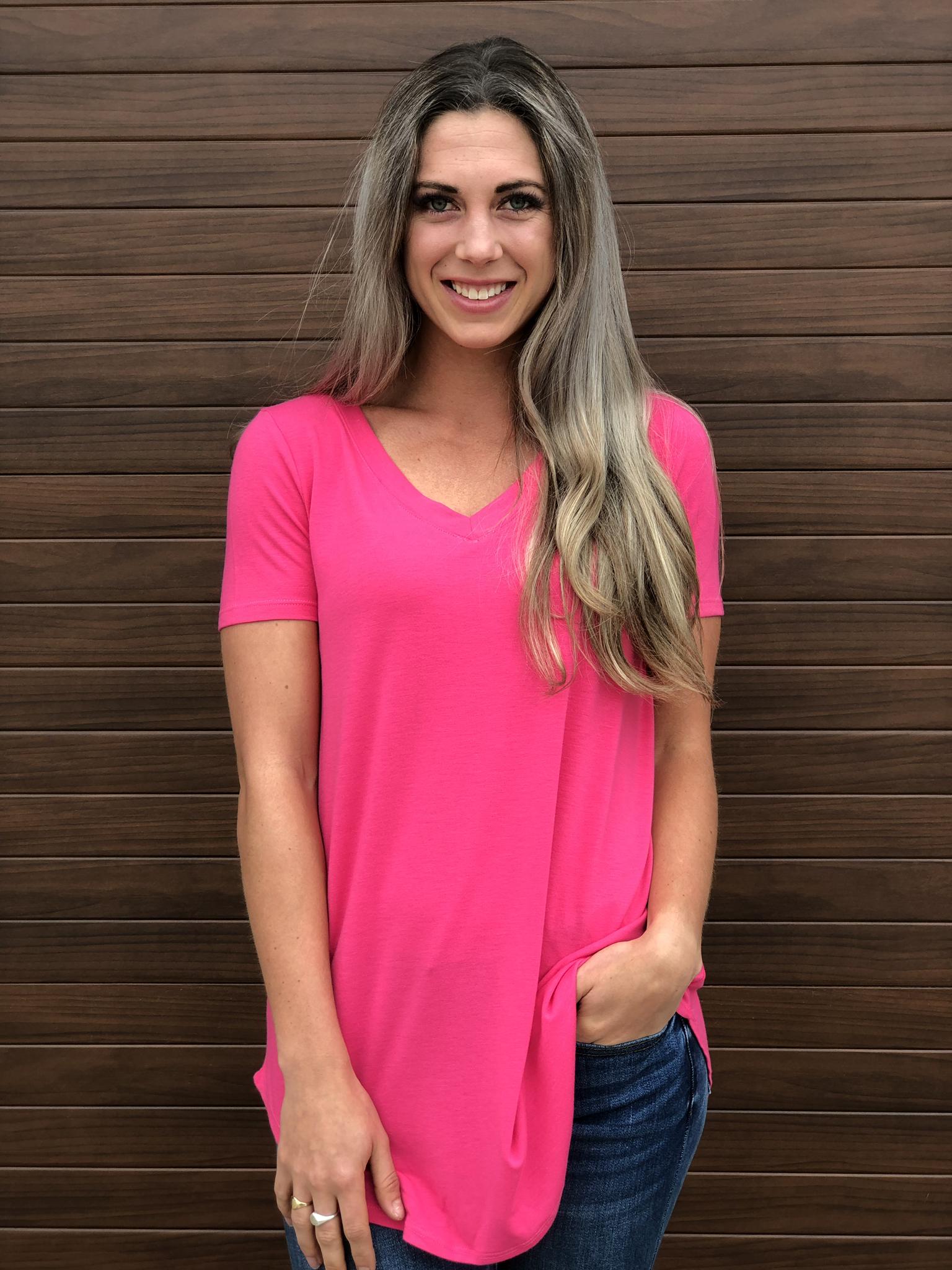 Basic V Neck Tee -  pink 83560