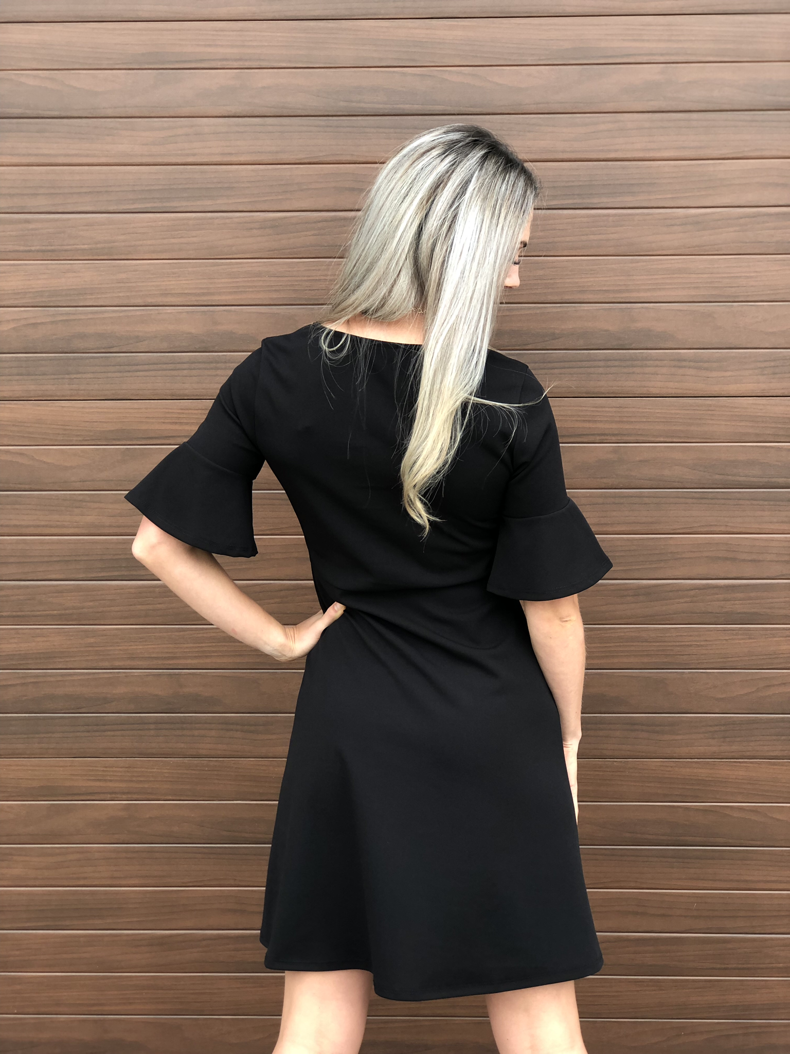 Fit and Flair Ruffle Sleeve Dress