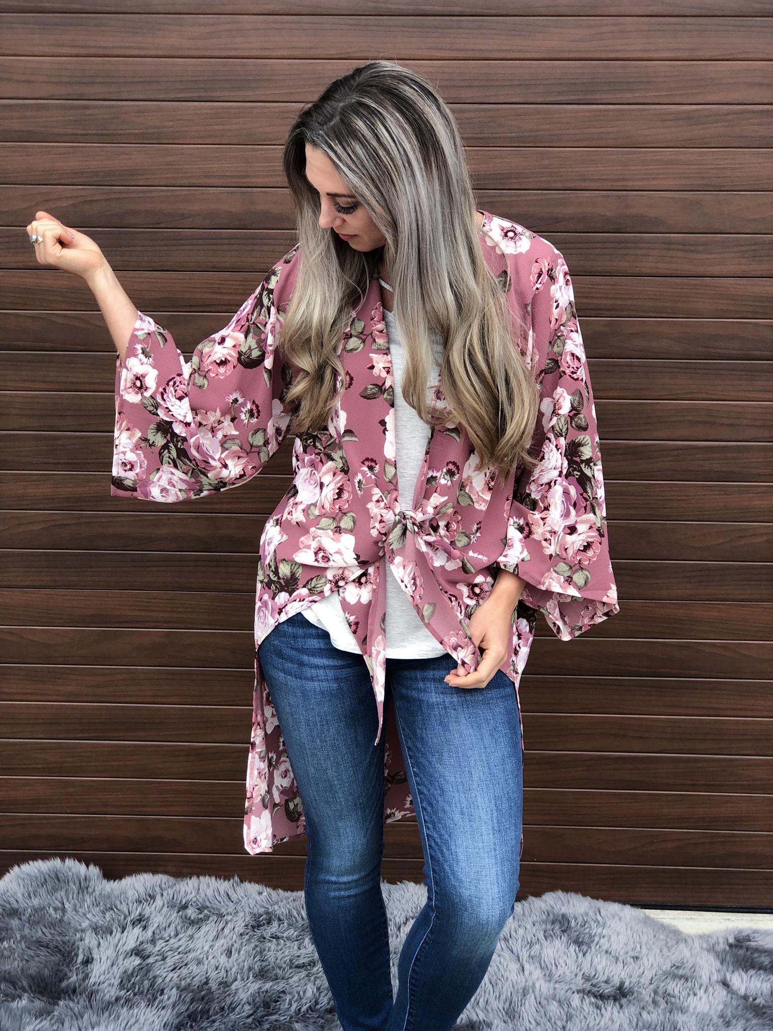 Mauve Floral Kimono 83068