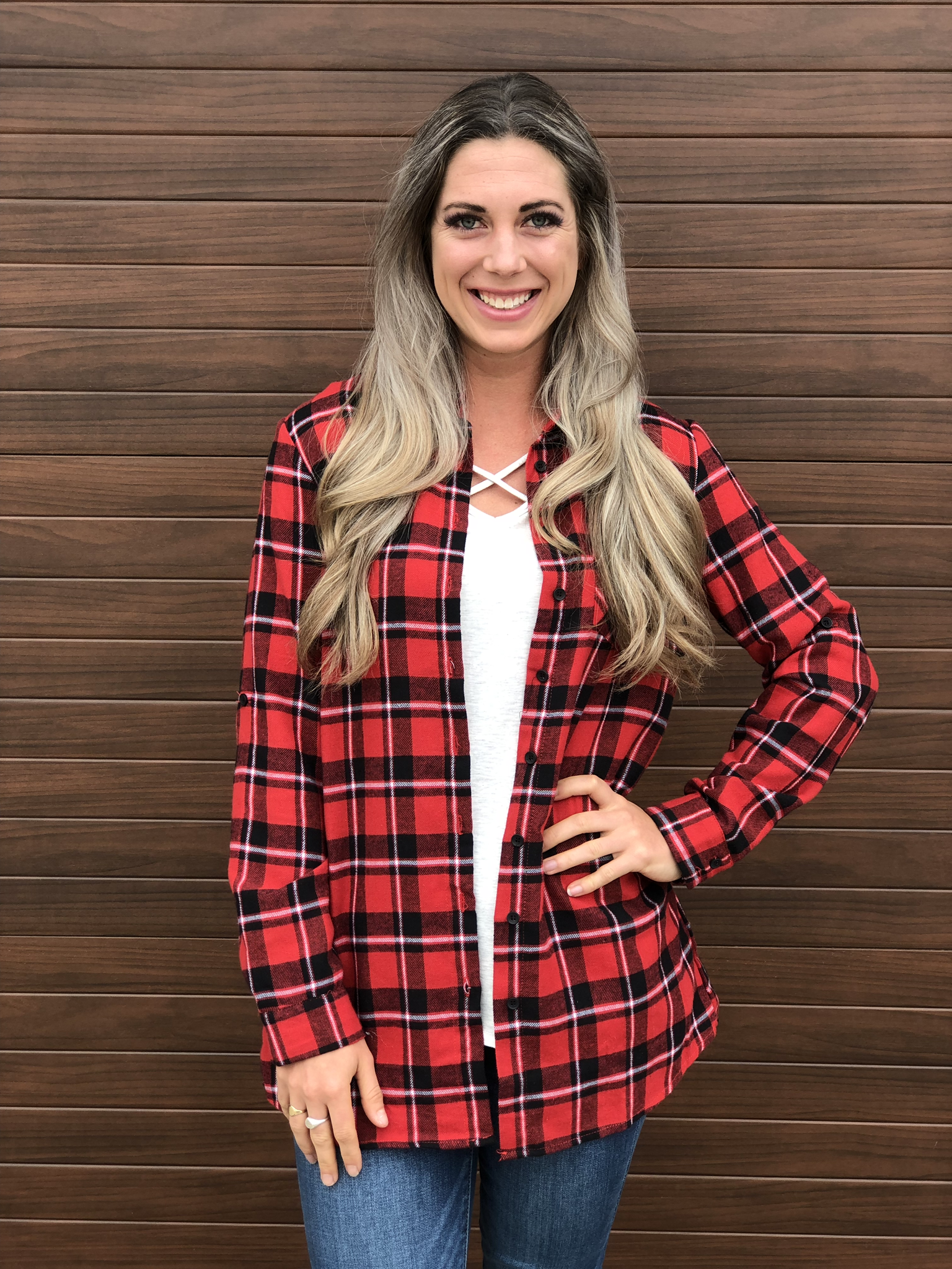 Festive Plaid Top with Pockets 999999857