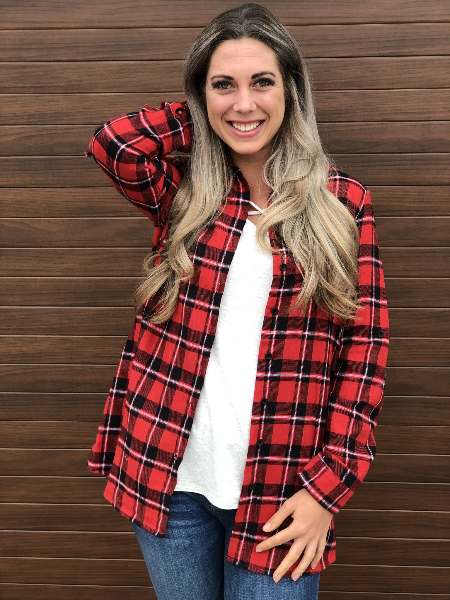 Festive Plaid Top with Pockets