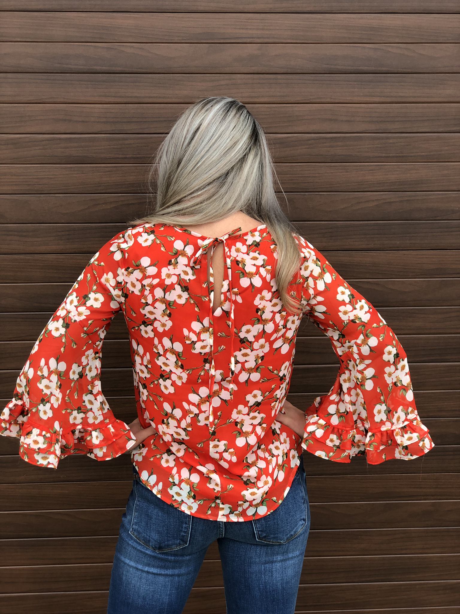 Floral orange blouse