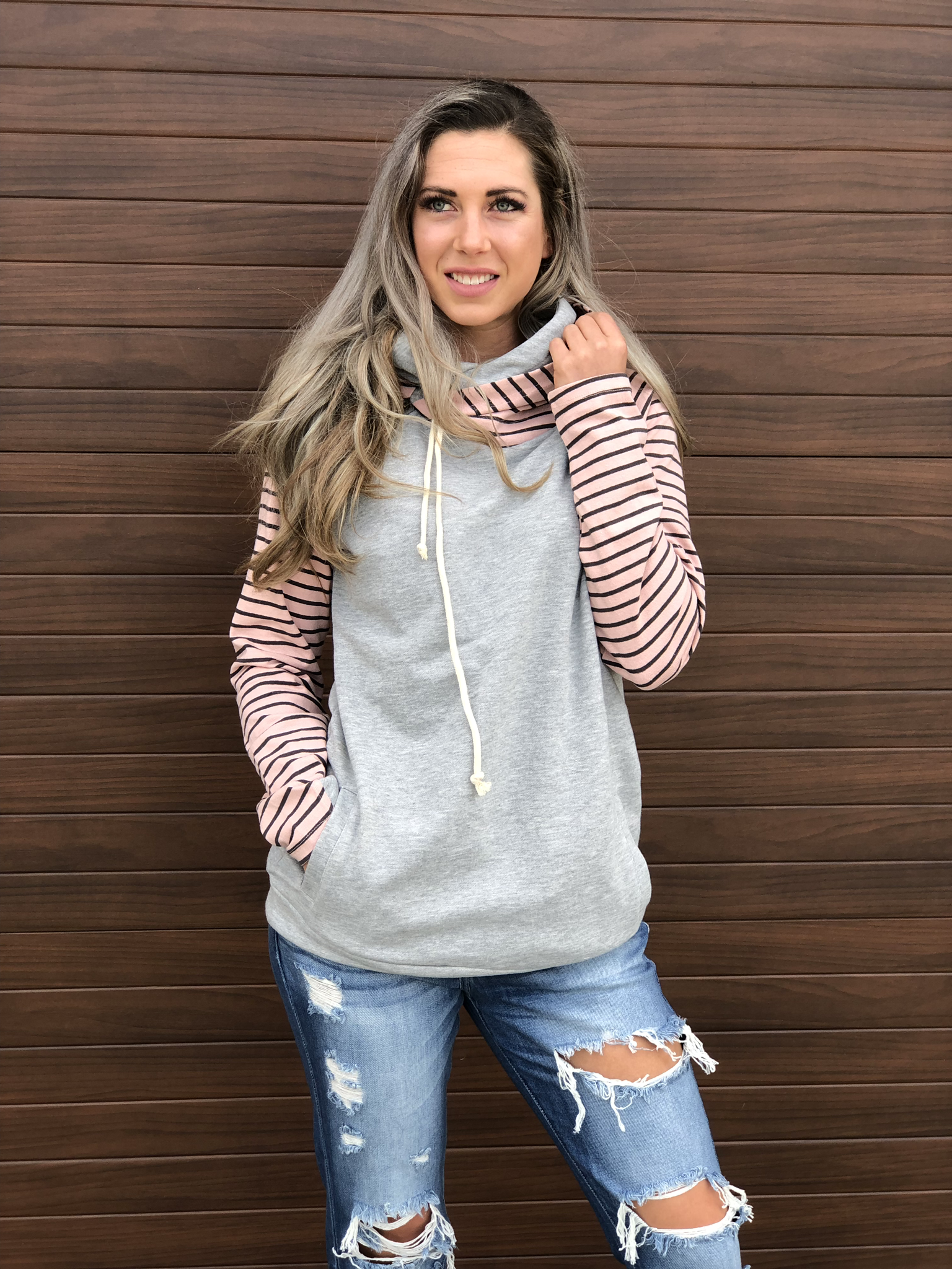 Blush Pink Stripe Double Hoodie 83671