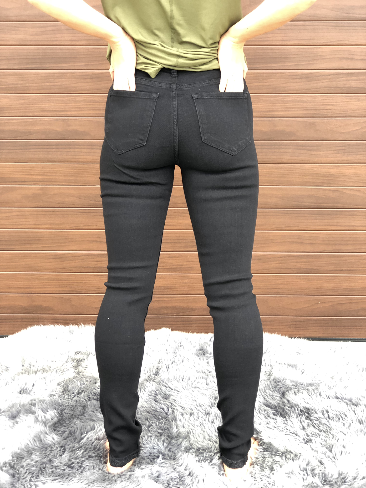Black Skinny Kan Can Skinny Jean with Knee Distressing
