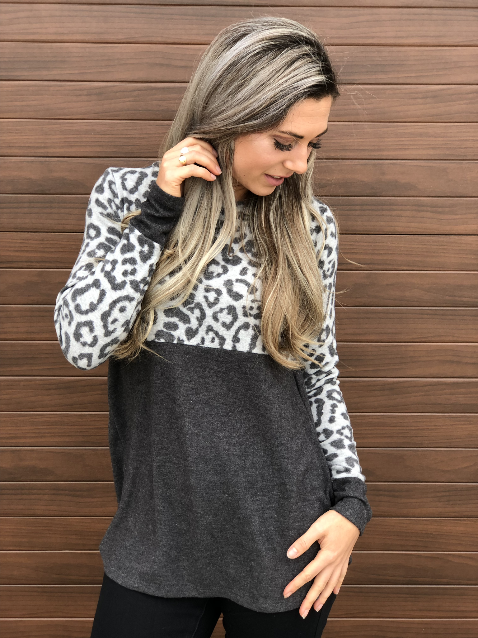 Grey Color Block Cheetah Print Sweater 83598