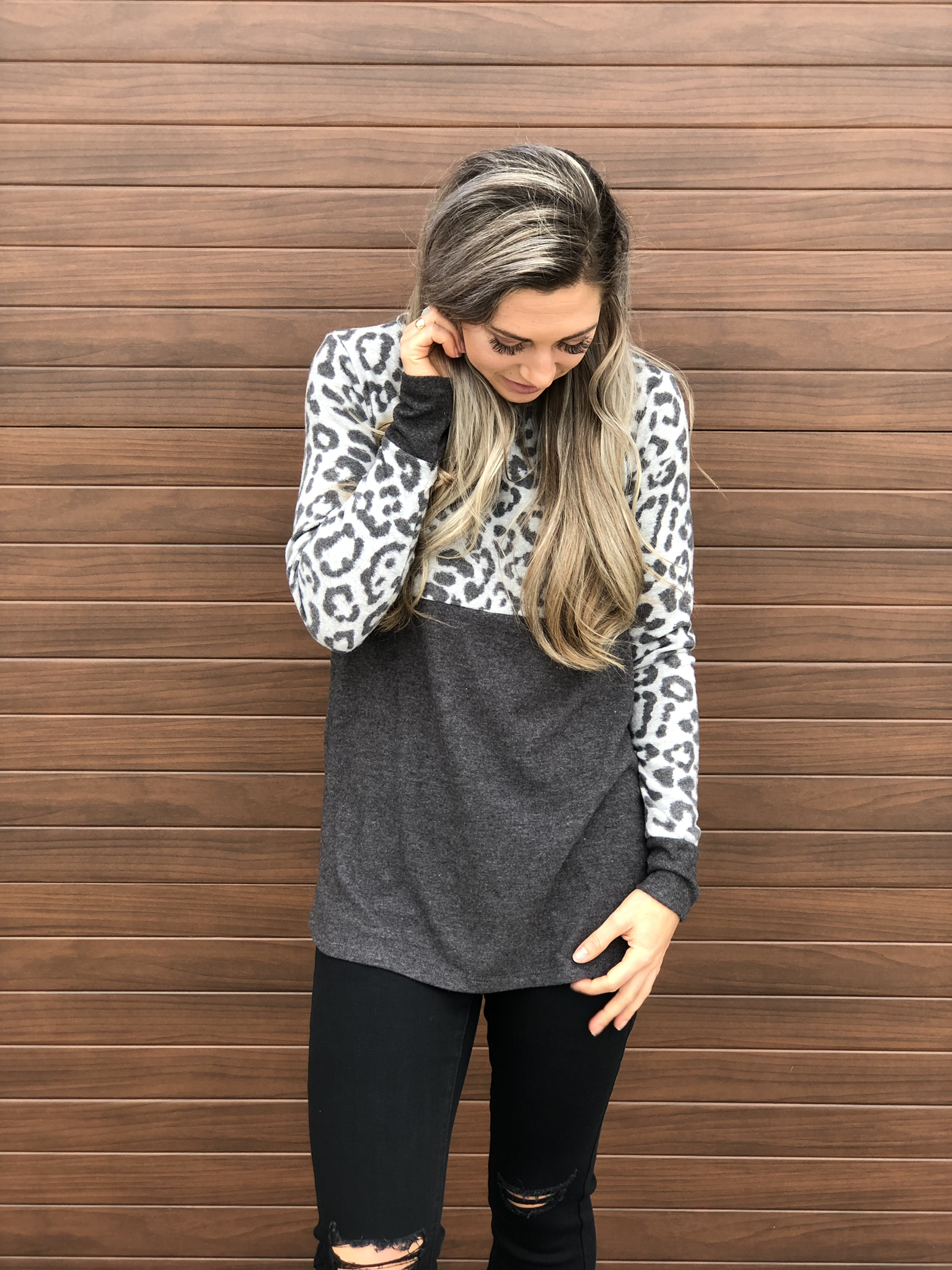 Grey Color Block Cheetah Print Sweater