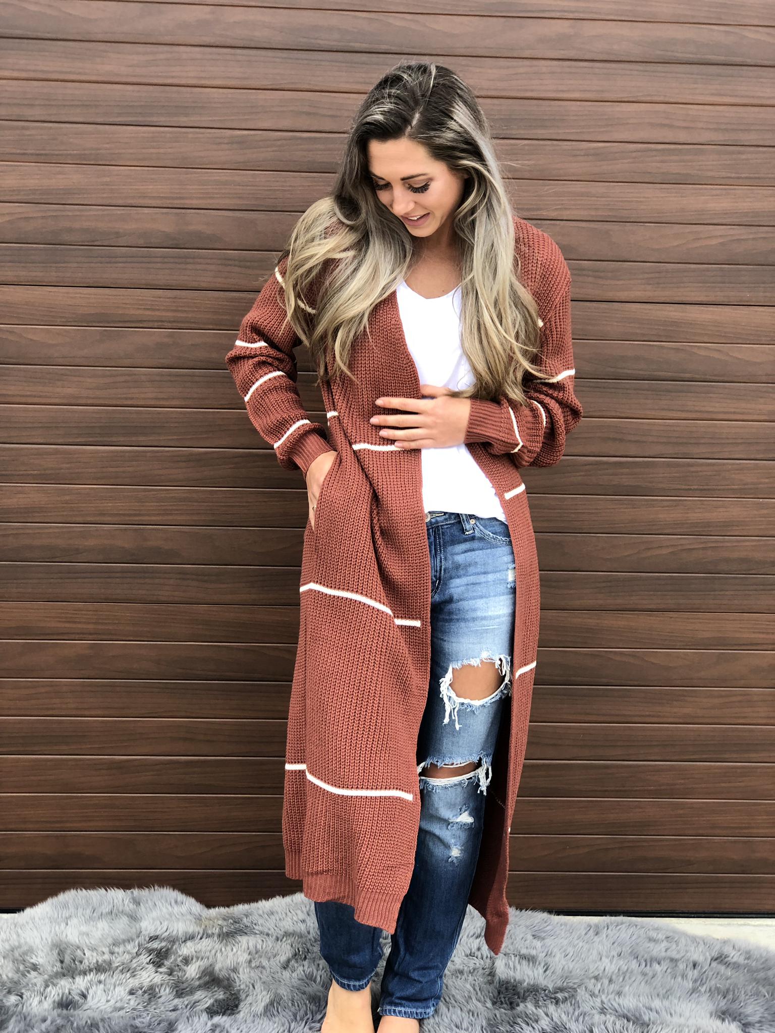 Rust Stripe Sweater Duster Cardigan 83629