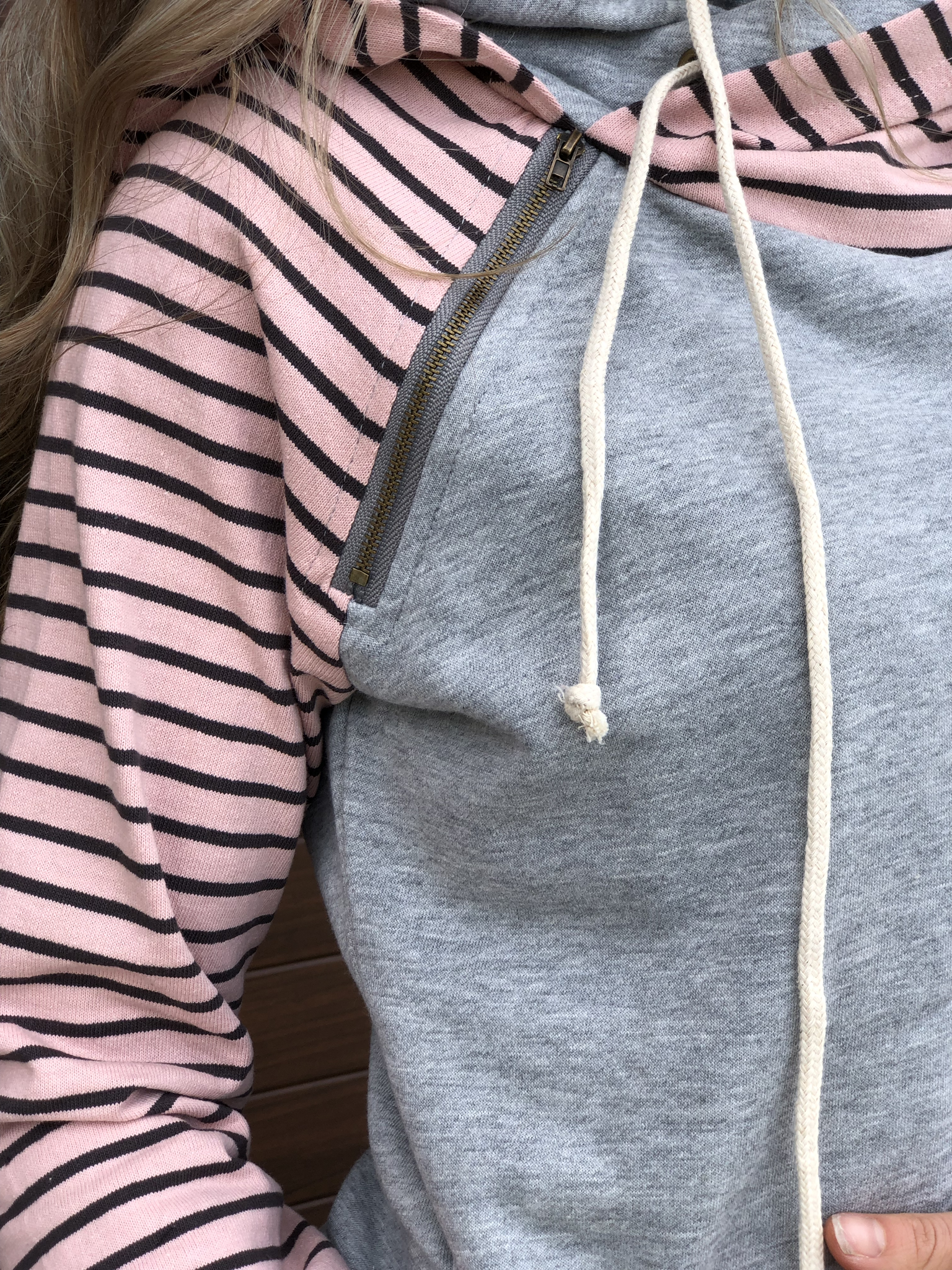 Blush Pink Stripe Double Hoodie