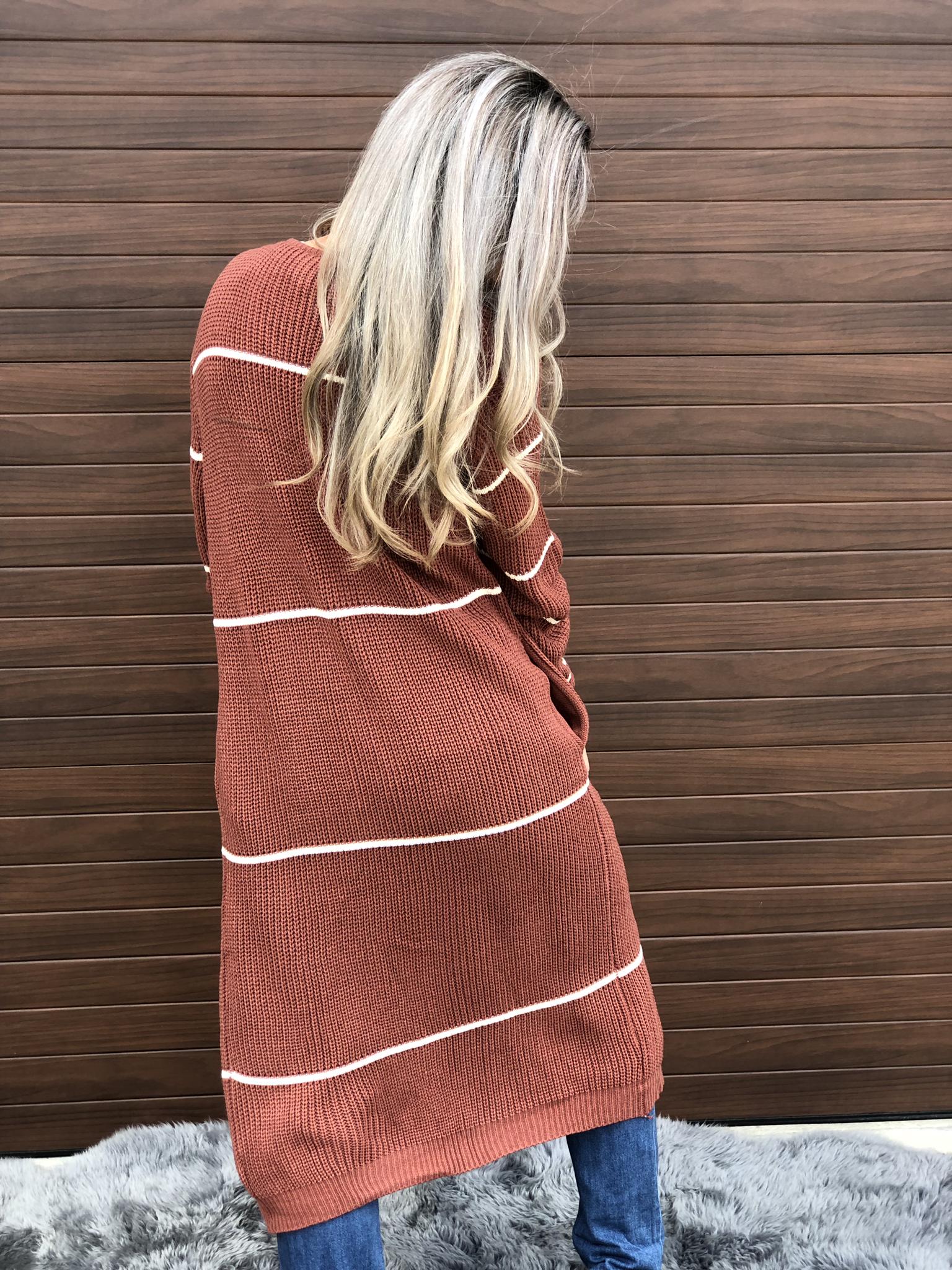 Rust Stripe Sweater Duster Cardigan
