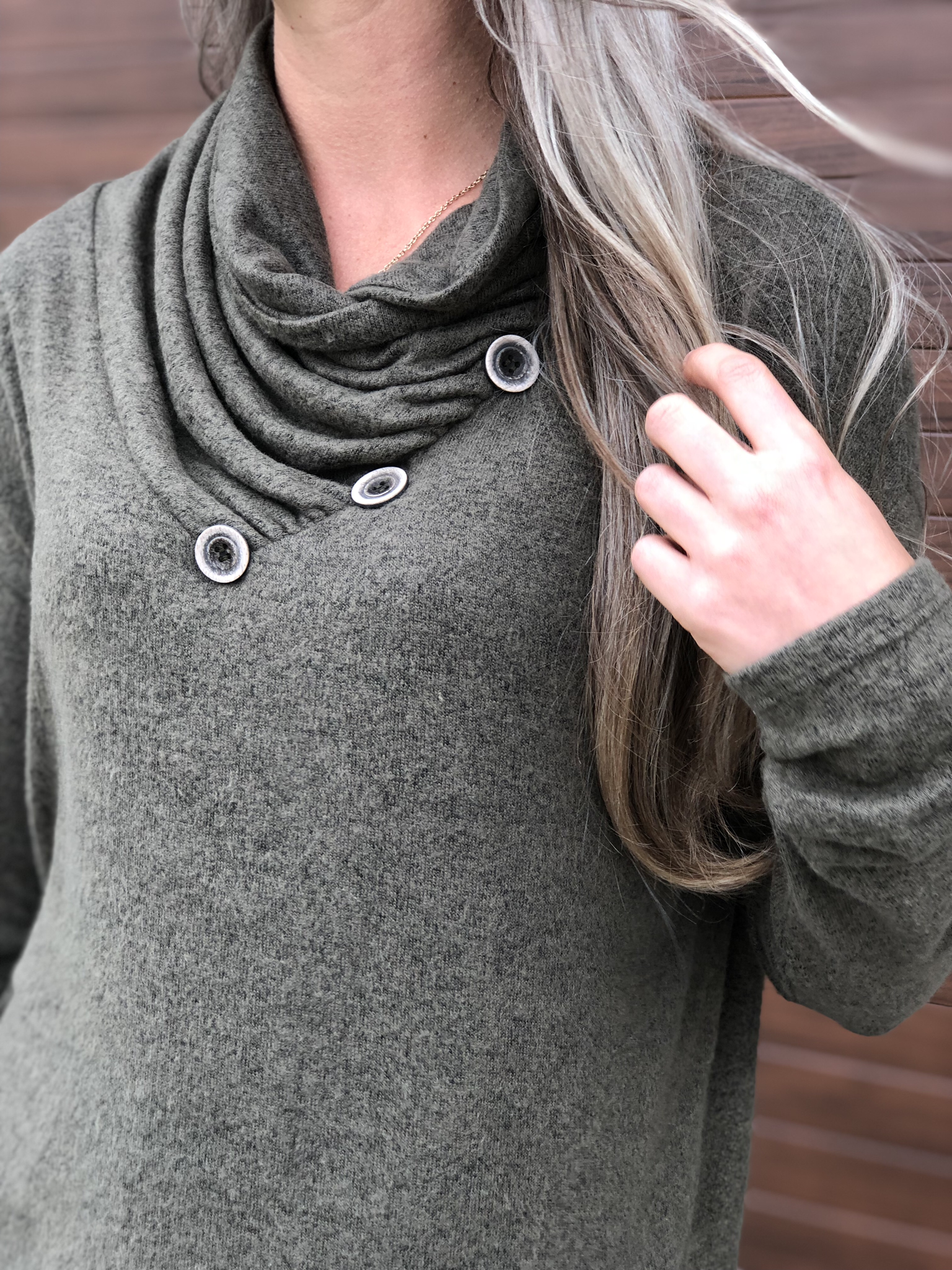 Cowl Button Sweatshirt Sweater - Olive