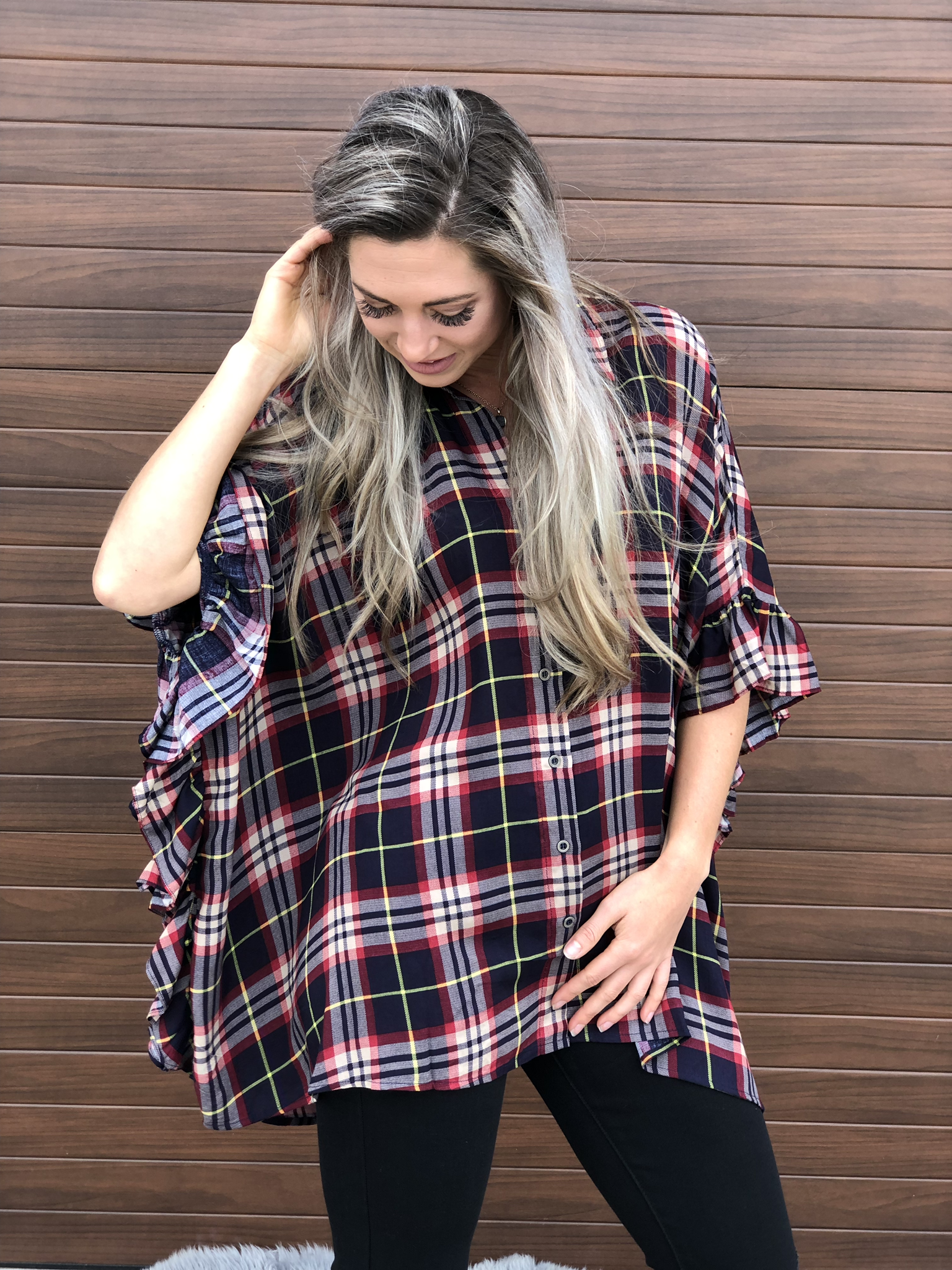 Button Up Plaid Ruffle Detail Top