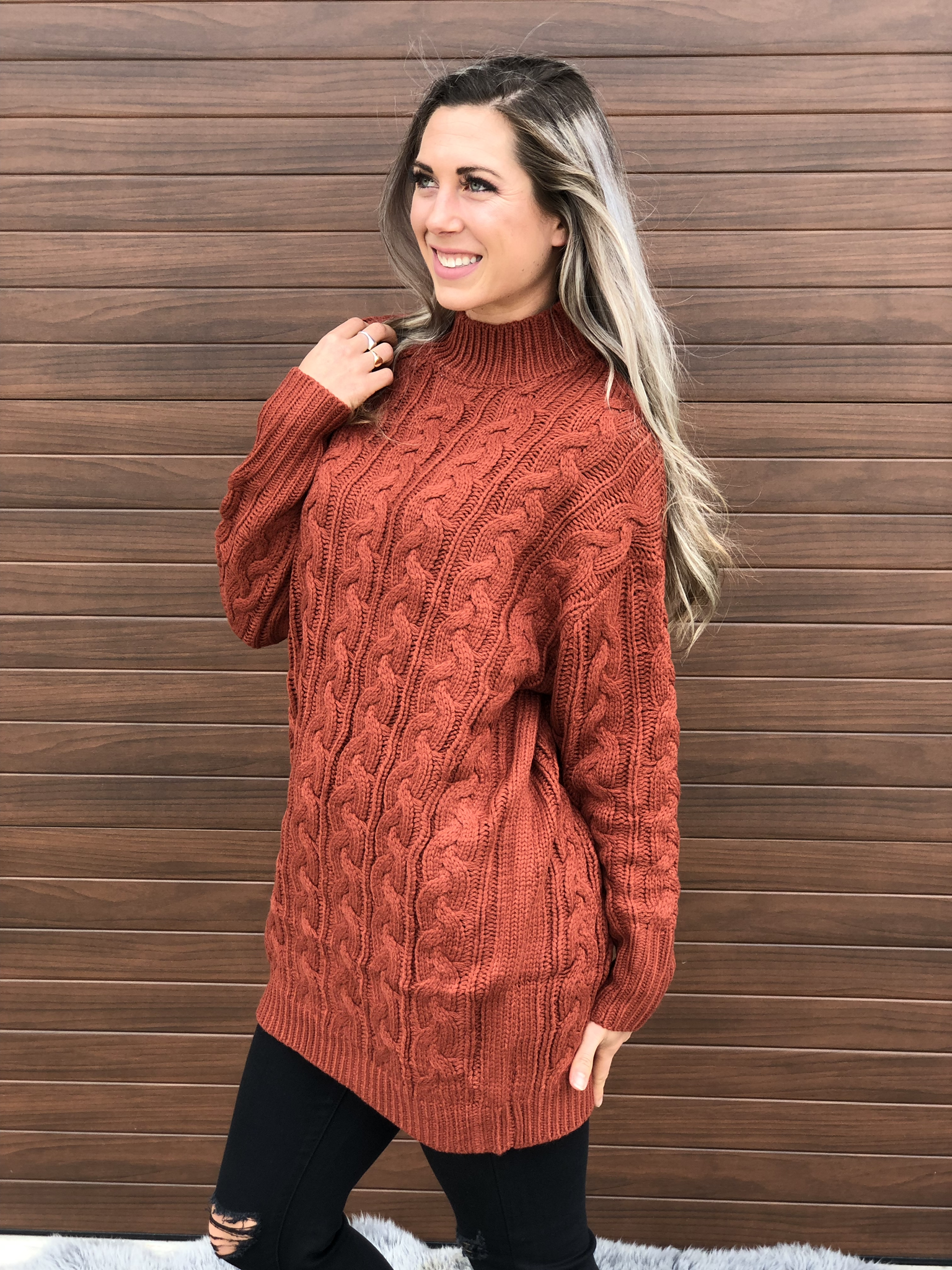 Rust Cable Tunic Sweater 83733