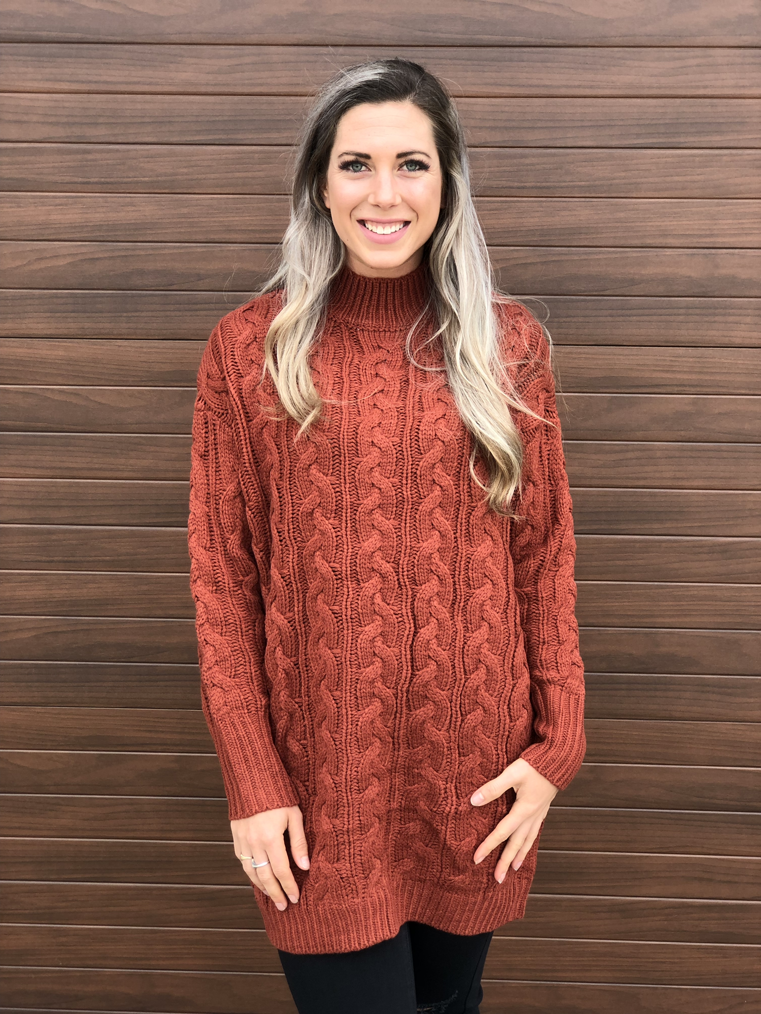 Rust Cable Tunic Sweater