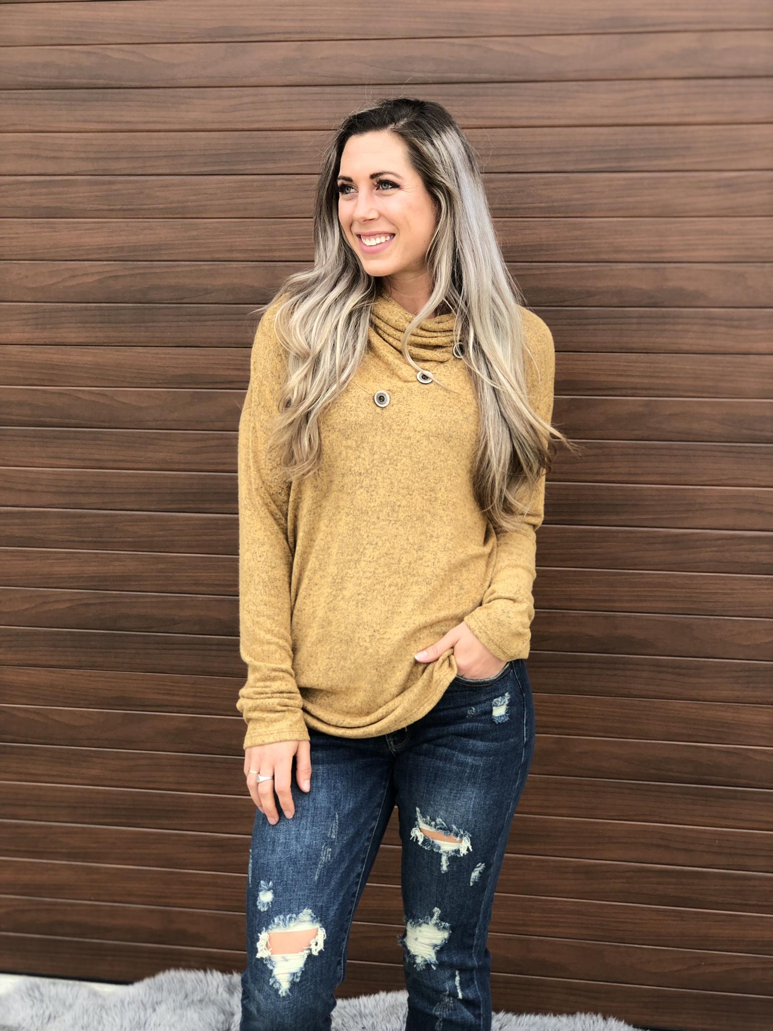 Cowl Button Sweatshirt Sweater - Mustard 83695