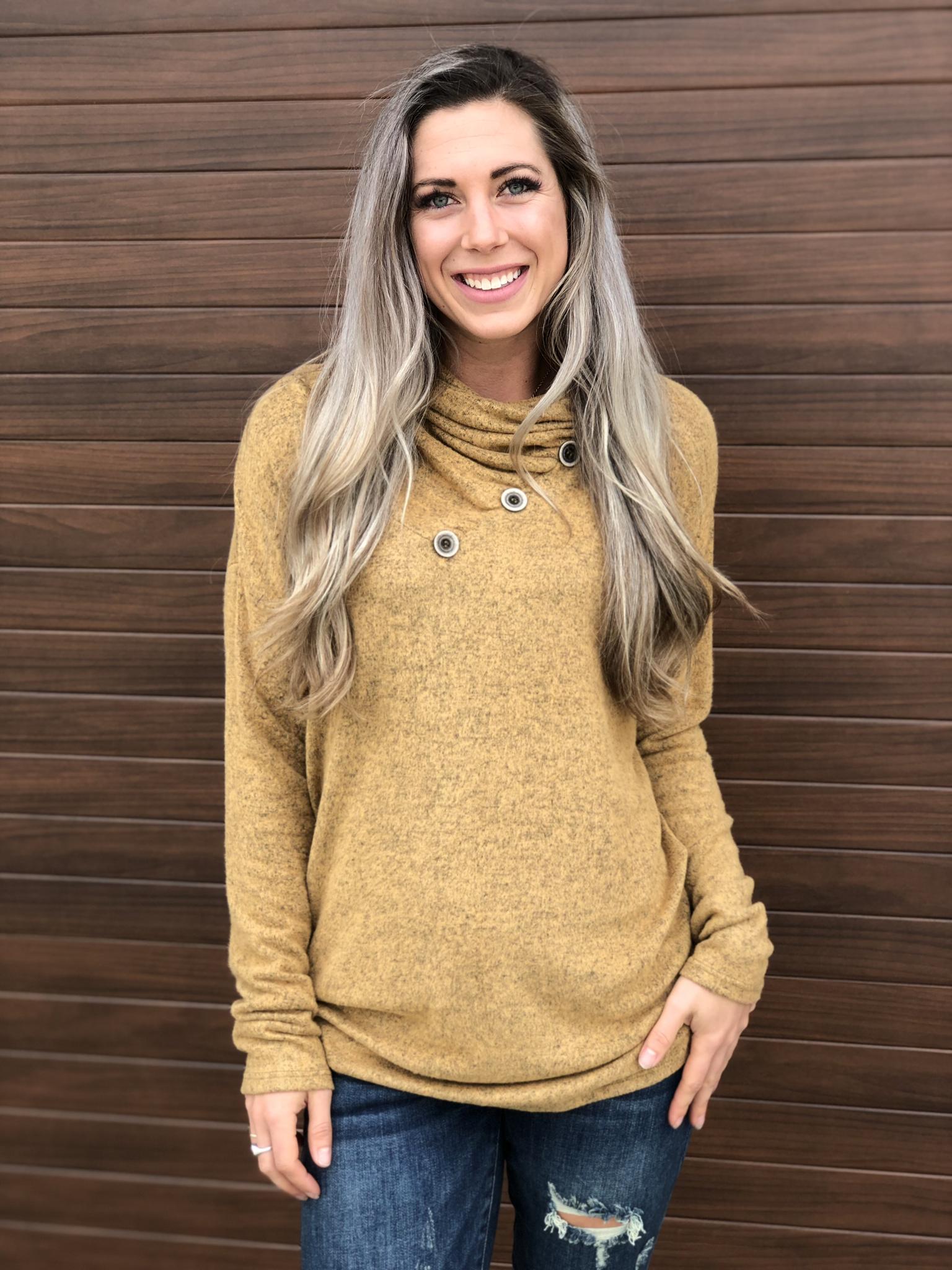Cowl Button Sweatshirt Sweater - Mustard