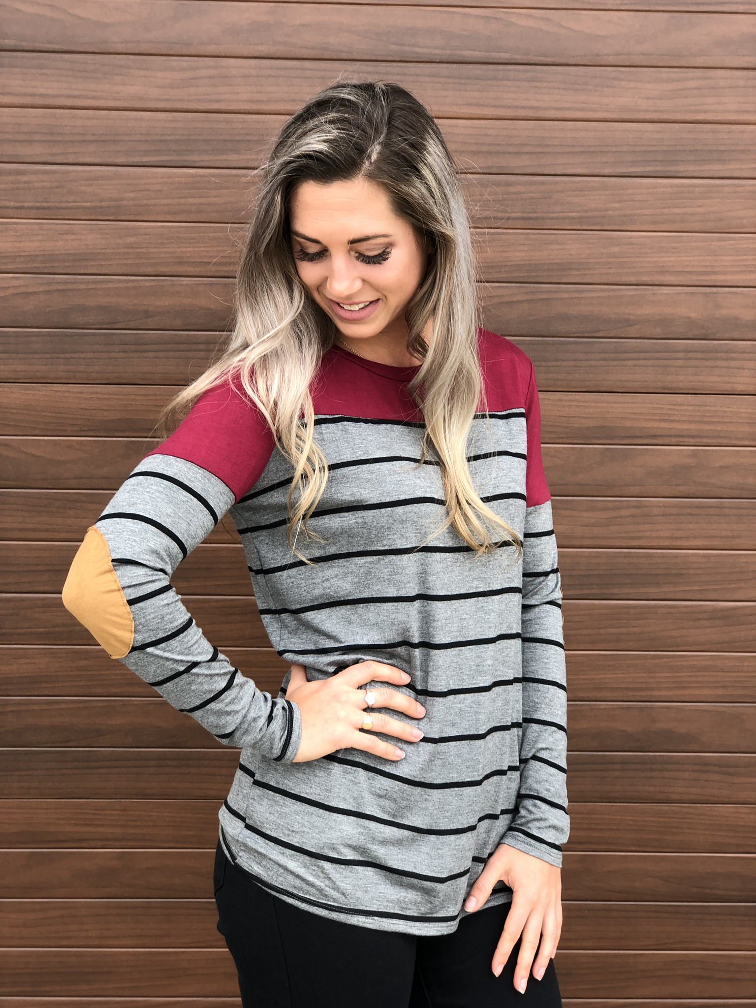Charcoal/Red Stripe Elbow Patch Top 83683