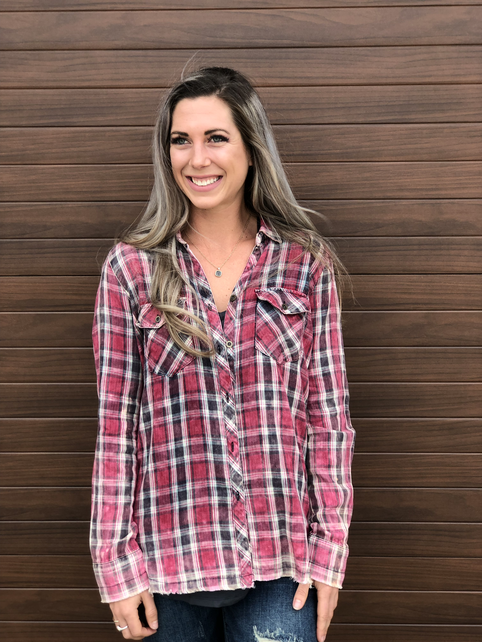 Plaid Button Up Top