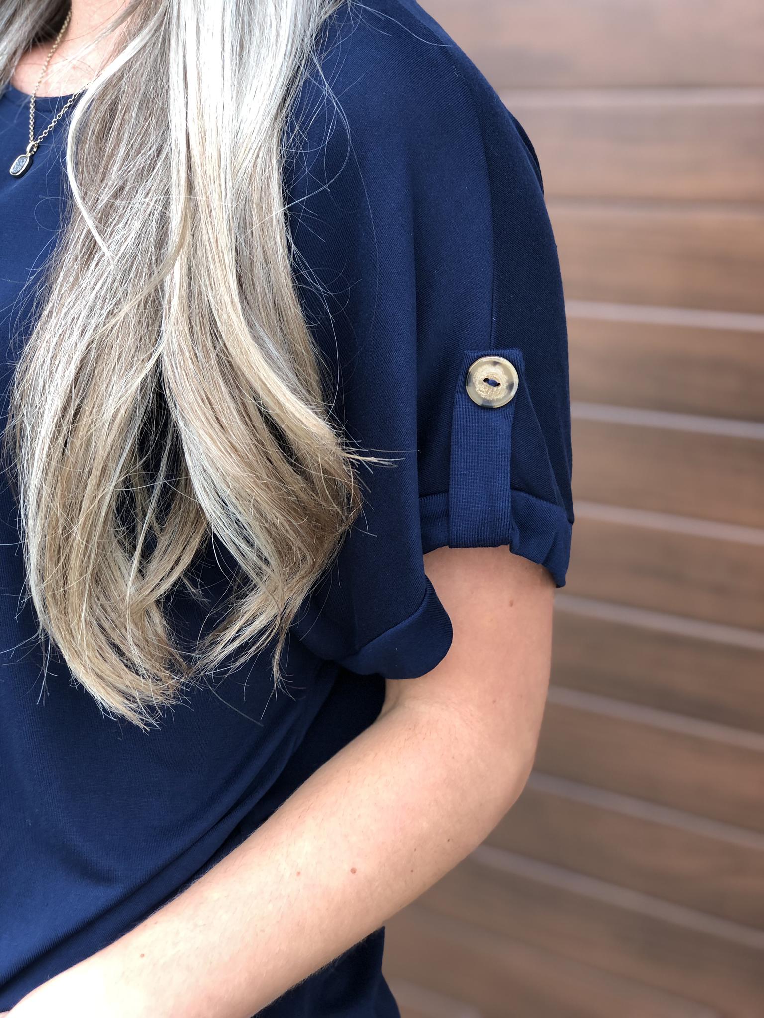 Blue Button Top