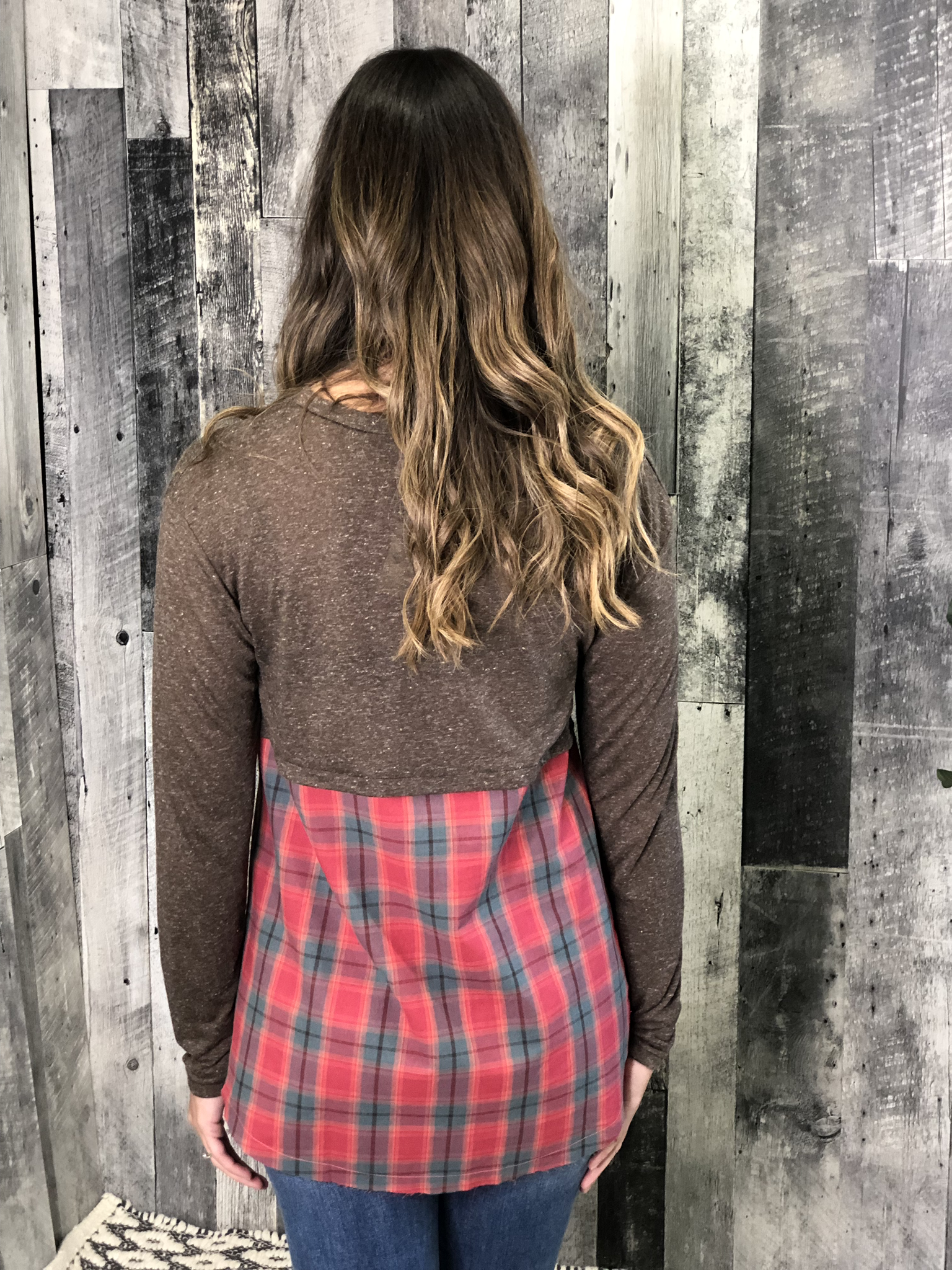 Plaid Detail Top - Red