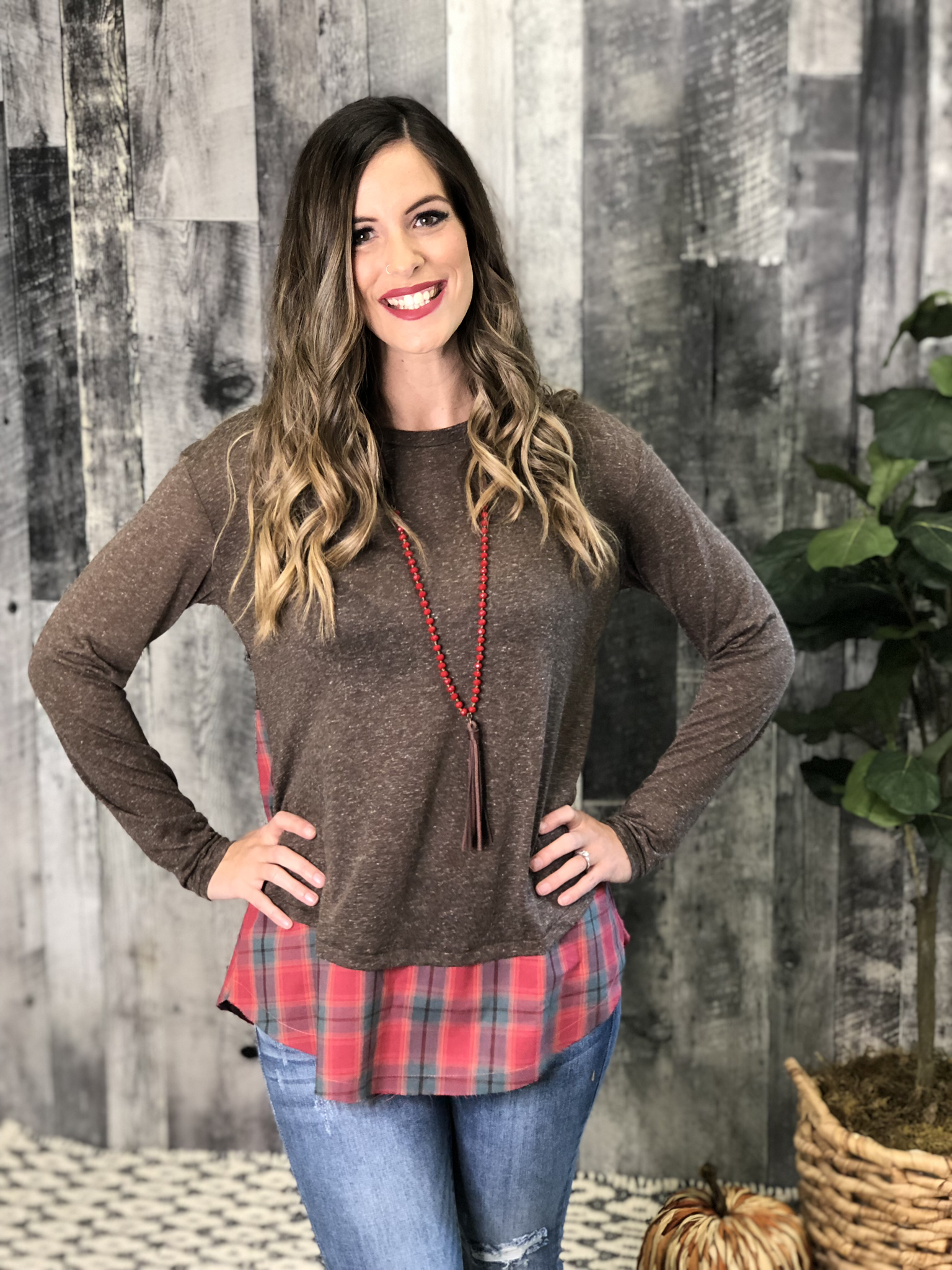 Plaid Detail Top - Red 83763