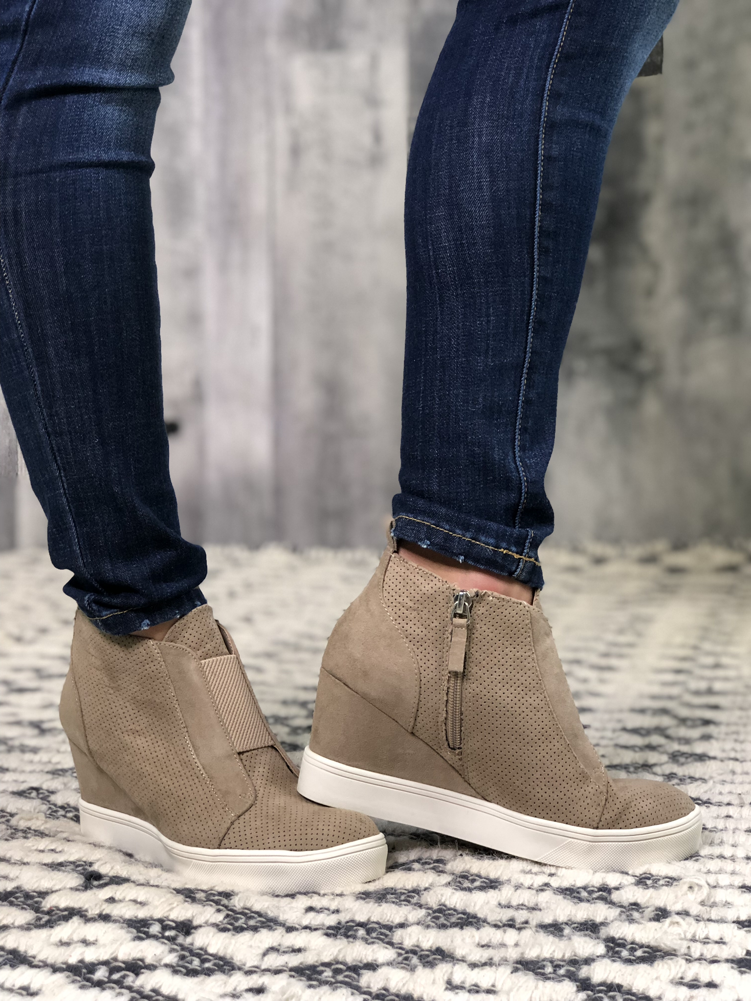 Taupe Blogger Inspired Wedge Bootie 83816