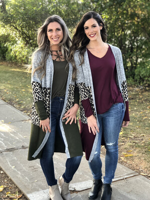Cheetah Color Block Cardigan - Burgundy