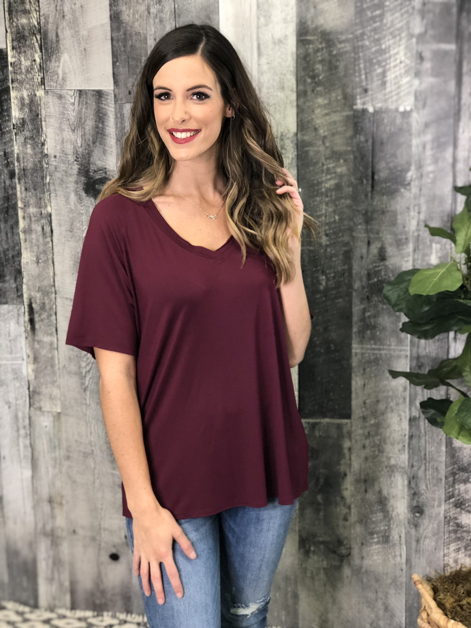 Premium V-Neck Relaxed Fit Tee - Burgundy 83783