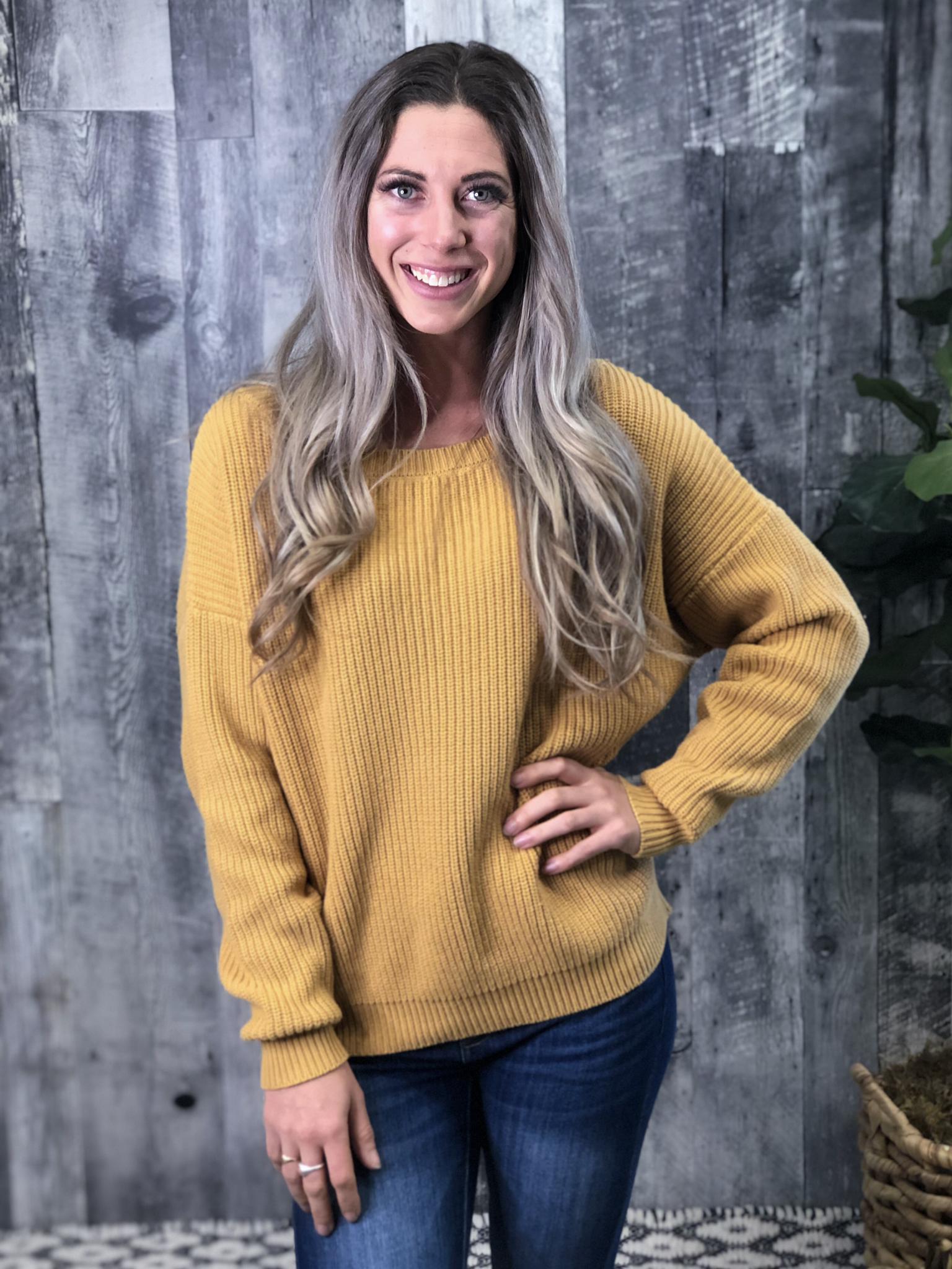 Mustard Knit Sweater 83932