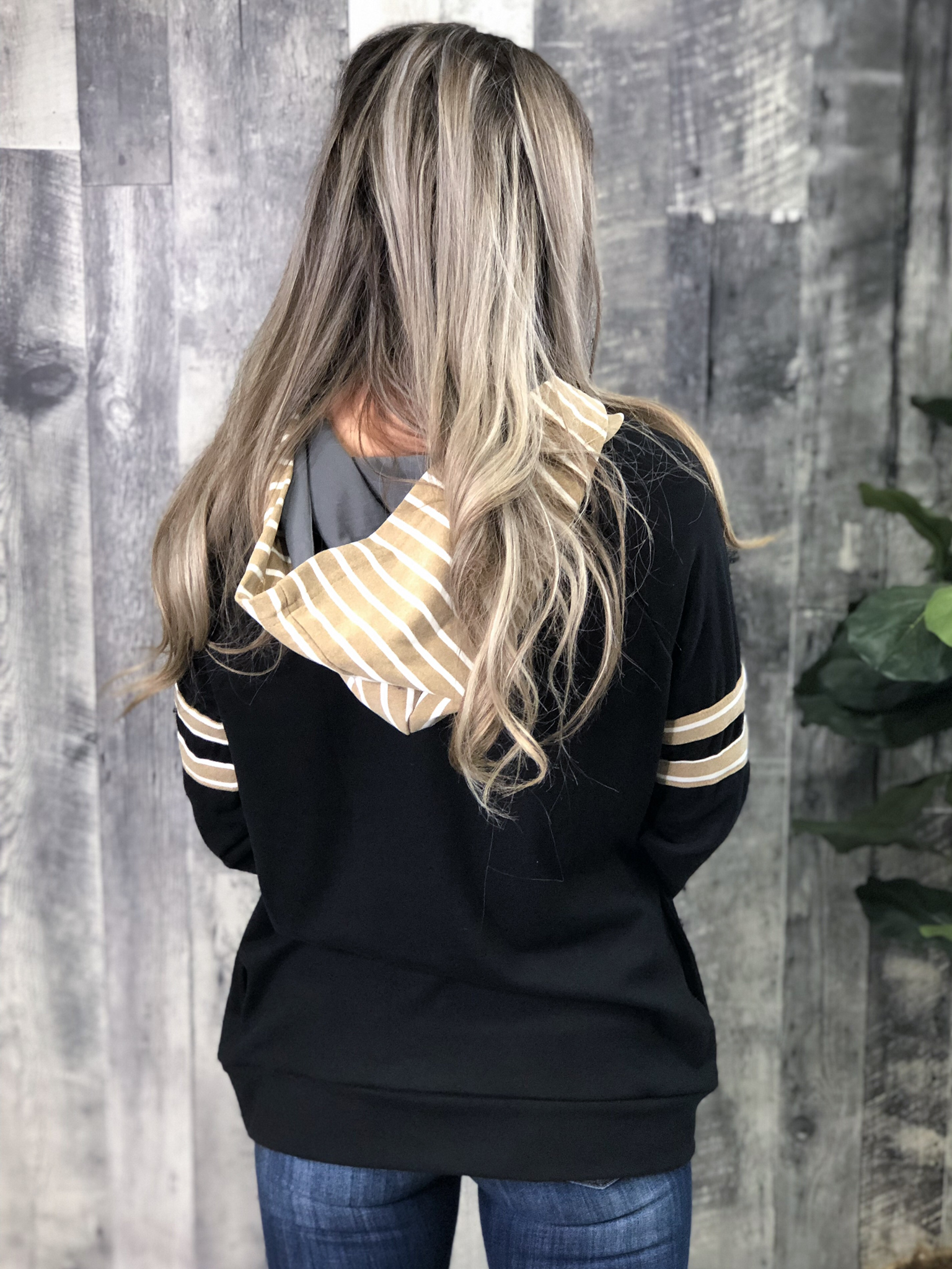Black and Taupe Double Hoodie