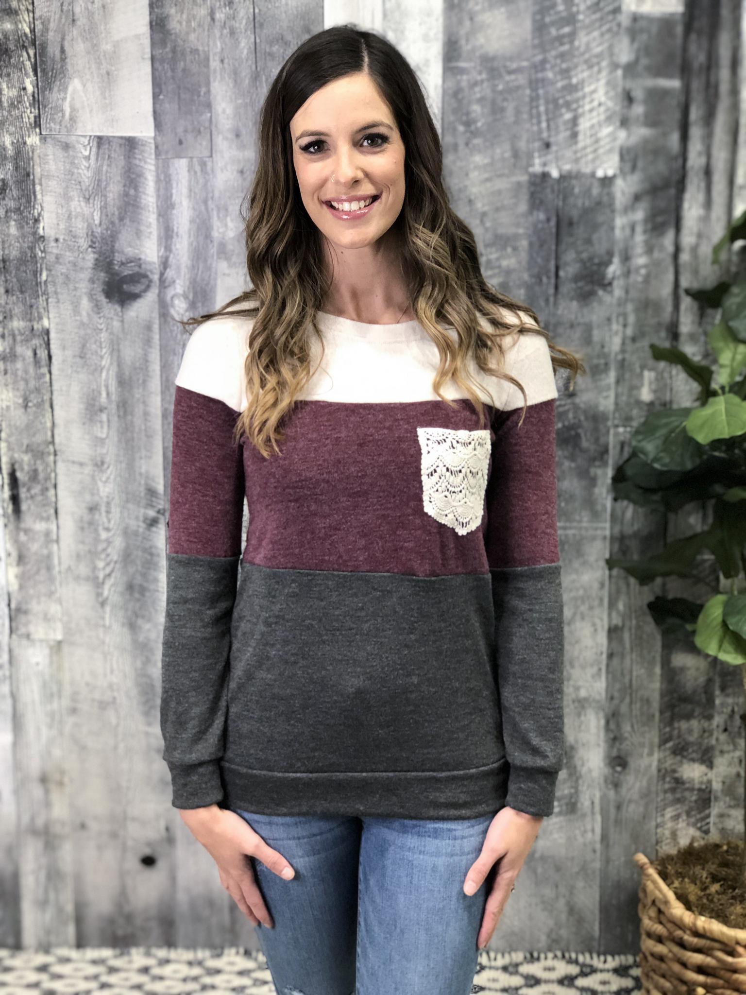 Crochet Color Block Sweater 83874