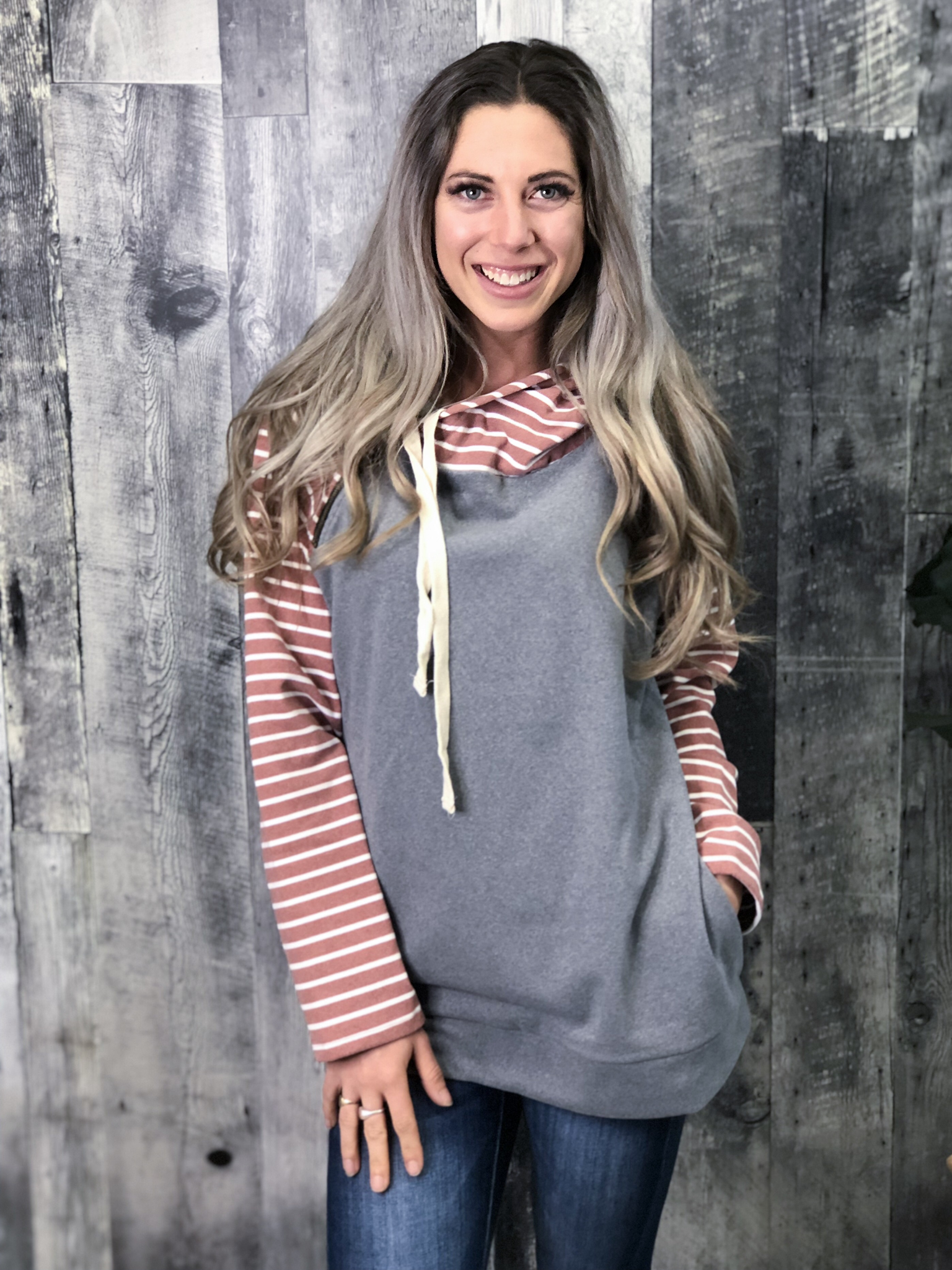 Grey and Blush Double Hoodie 83915