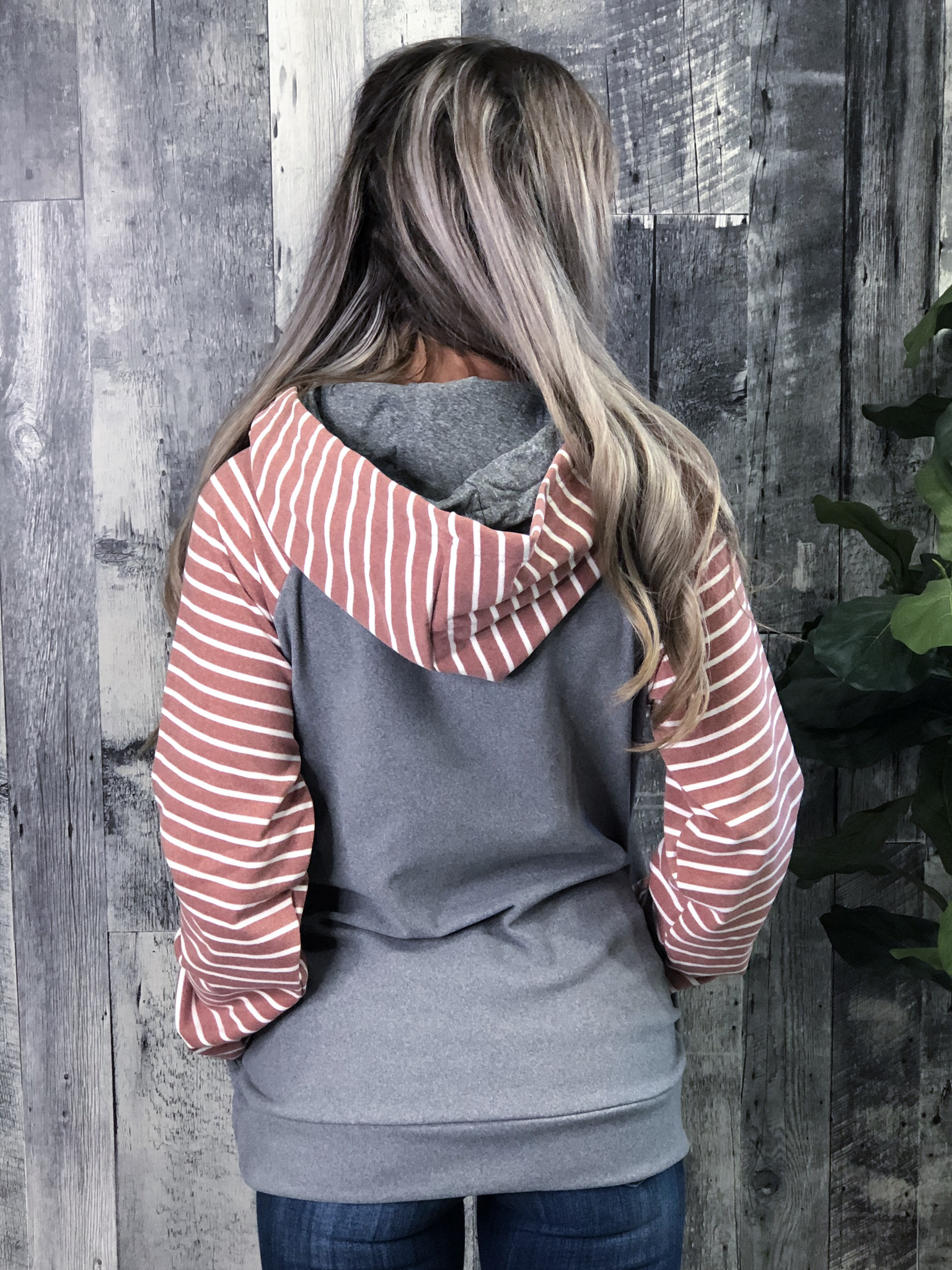 Grey and Blush Double Hoodie