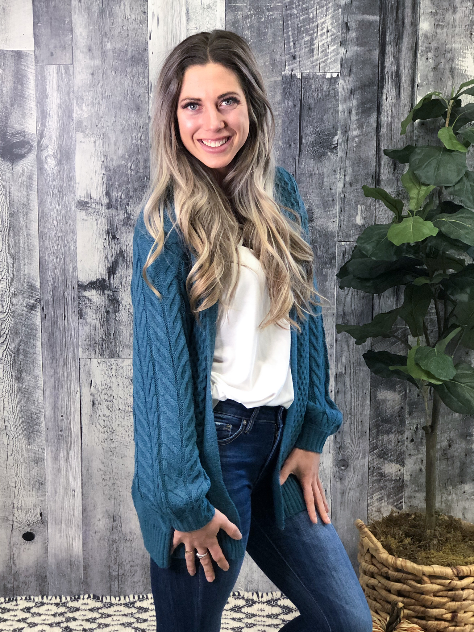 Teal Cable Knit Cardigan