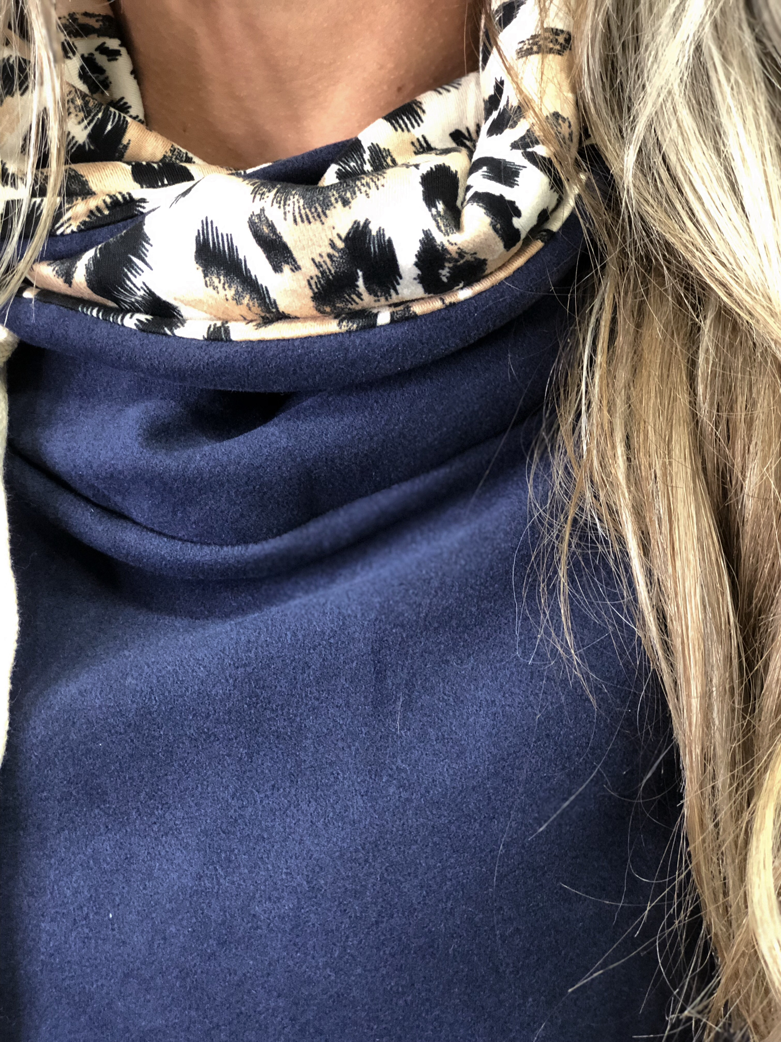 Navy Animal Print Cowl Sweatshirt